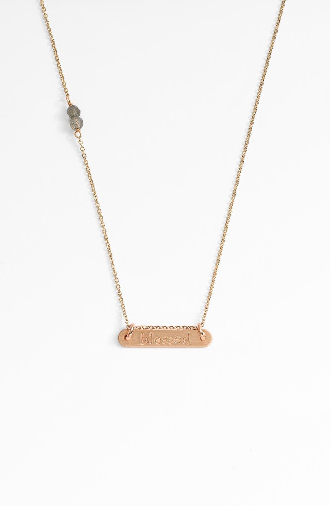 Alternate Image 1 Selected - Nashelle 'Blessed' 14k Gold-Fill Bar Necklace