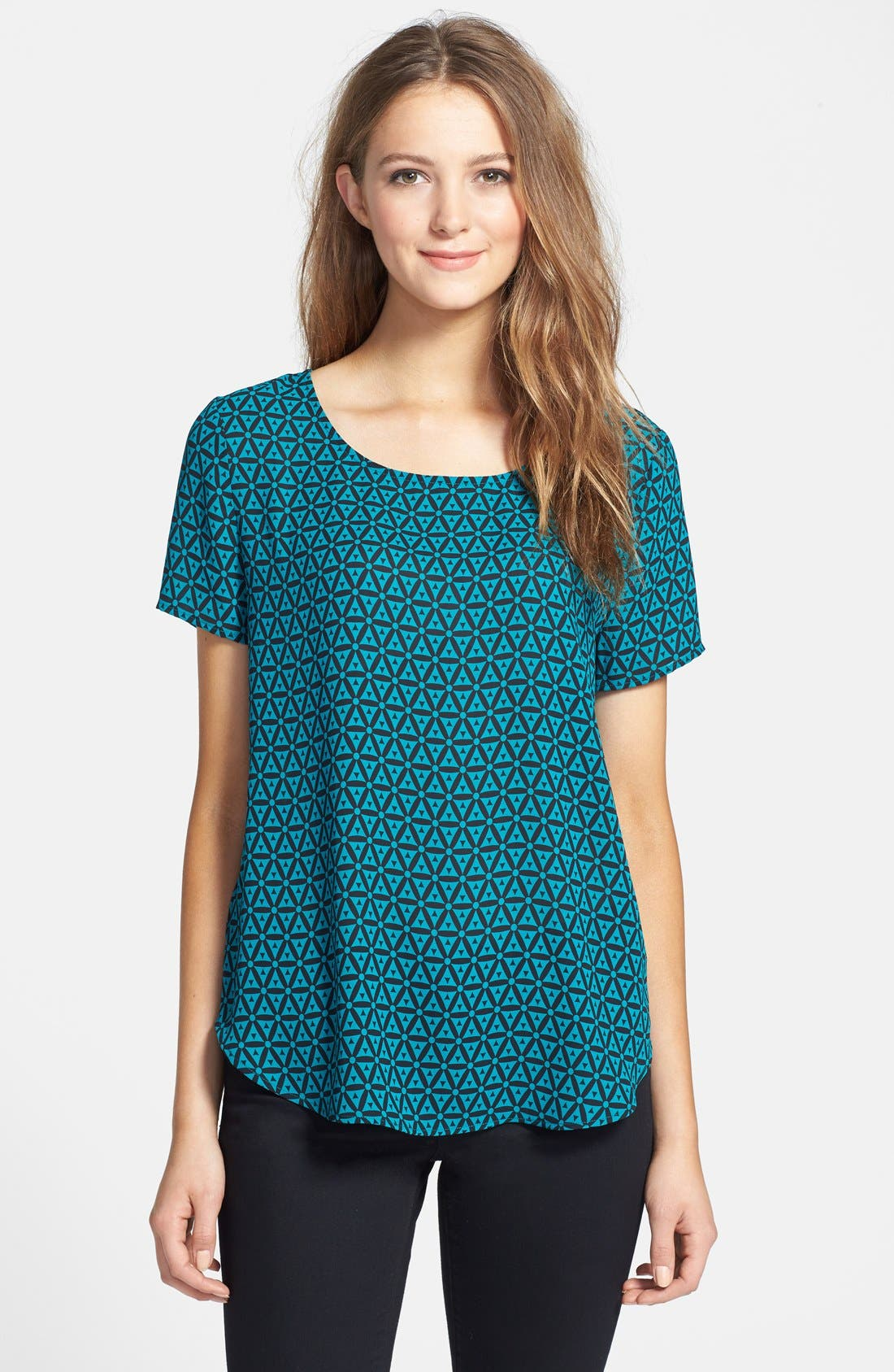 Alternate Image 1 Selected - Pleione Pleat Back Woven Print Top (Regular & Petite)