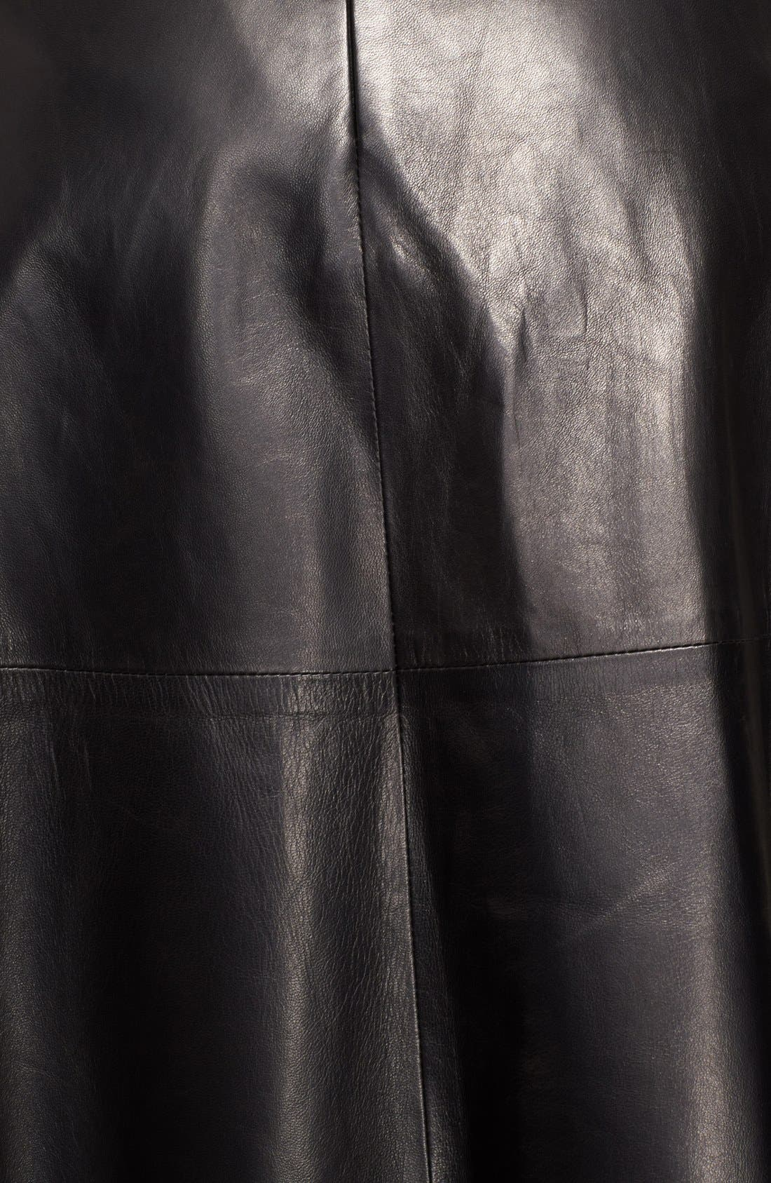 Lightweight Leather Midi Skirt,                             Alternate thumbnail 4, color,                             Black