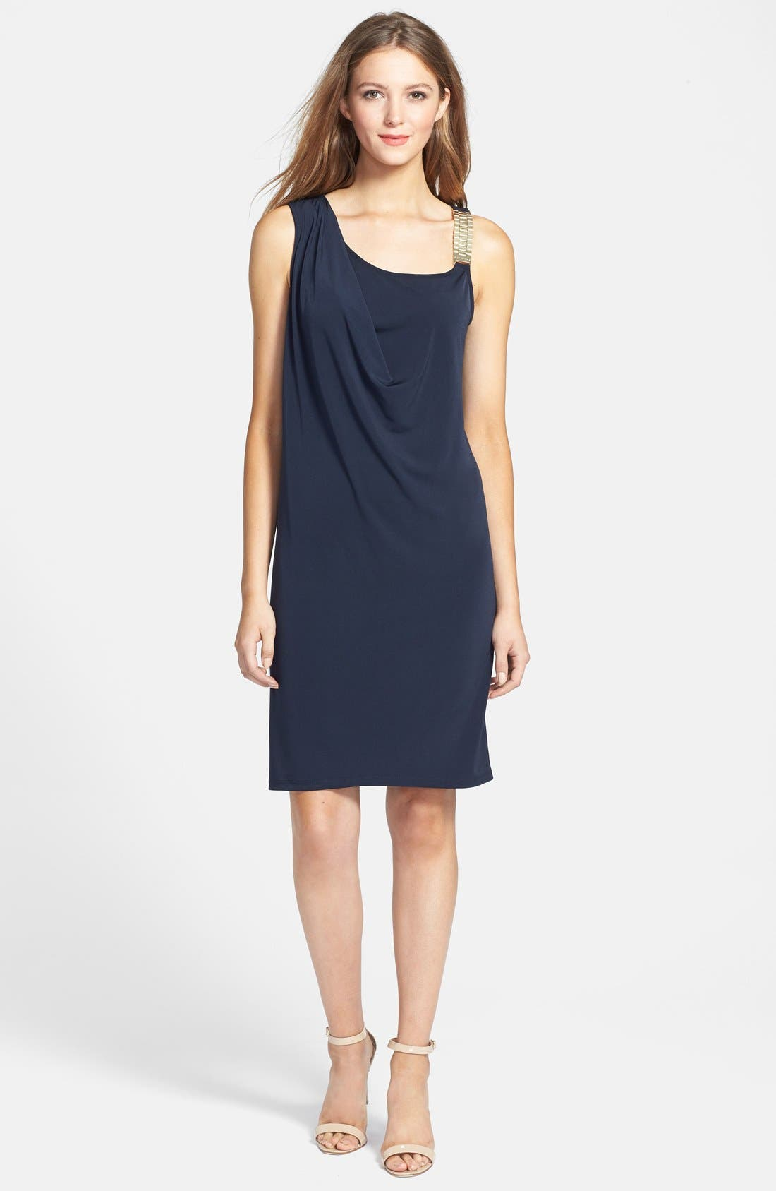 Alternate Image 1 Selected - MICHAEL Michael Kors Chain Strap Draped Matte Jersey Dress