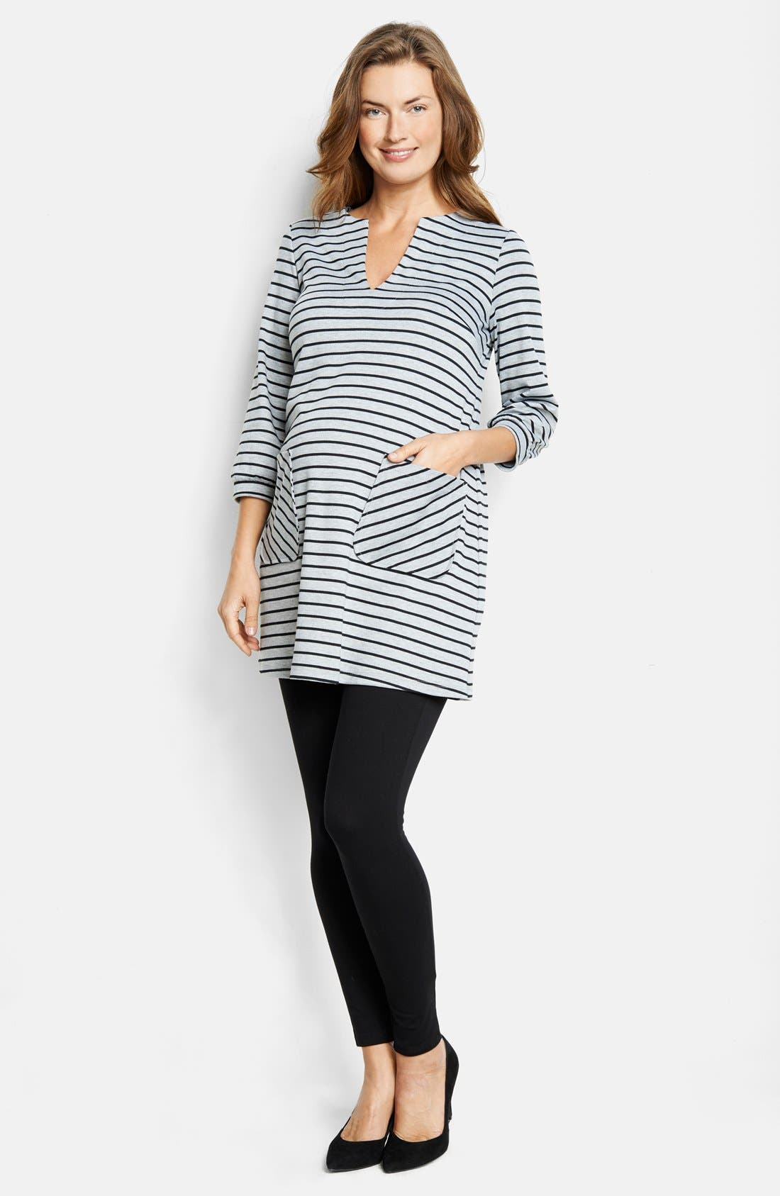Alternate Image 1 Selected - Maternal America Stripe Maternity Dress