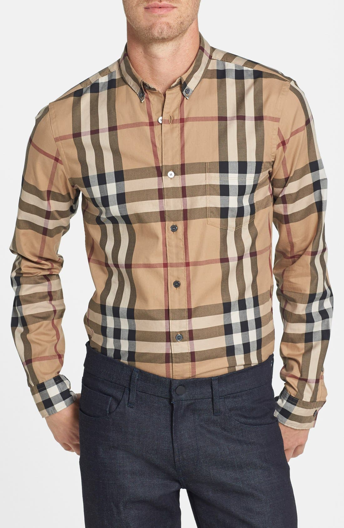 Alternate Image 1 Selected - Burberry Trim Fit Check Sport Shirt