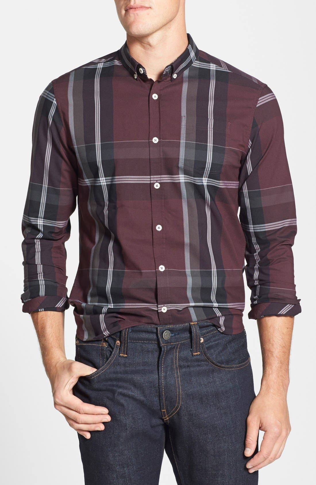 'All In One' Sport Shirt,                             Main thumbnail 1, color,                             Berry