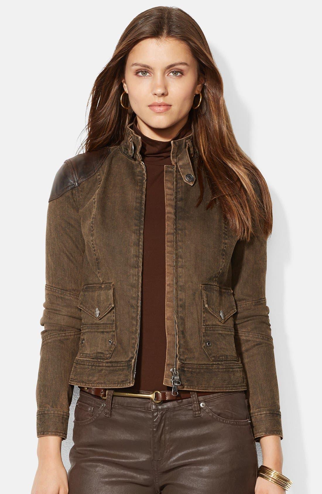 Alternate Image 1 Selected - Lauren Ralph Lauren Leather Trim Denim Jacket