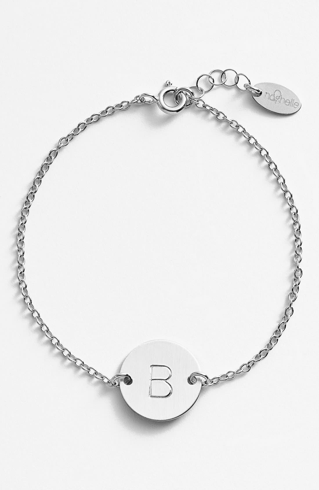 Sterling Silver Initial Disc Bracelet,                             Main thumbnail 1, color,                             Sterling Silver B