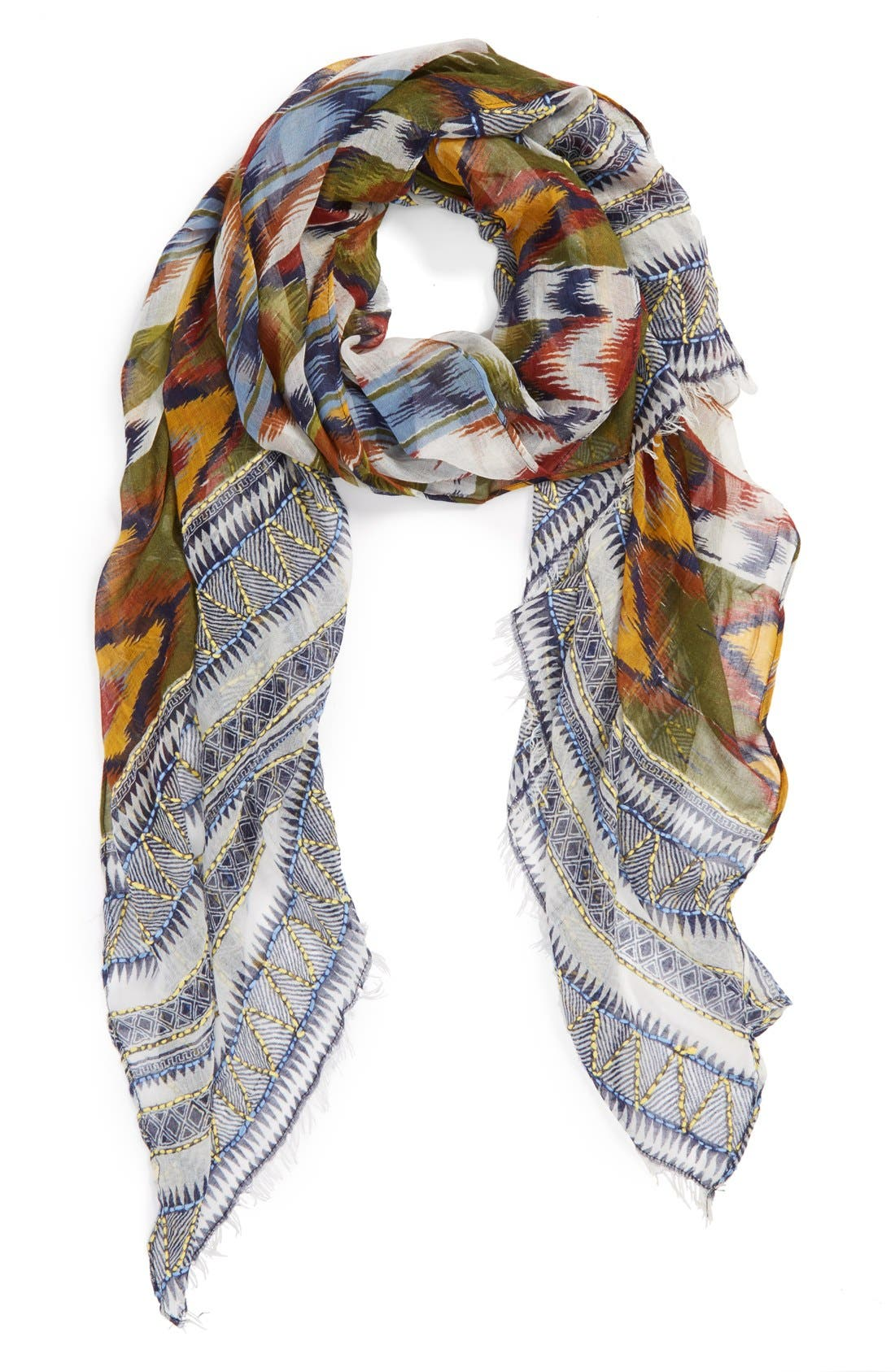 Main Image - Roffe Accessories Ikat Embroidered Scarf