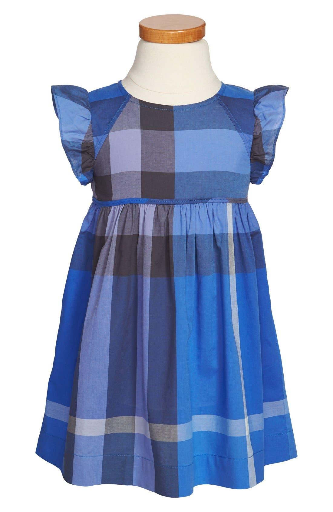 Main Image - Burberry Flutter Sleeve Dress (Toddler Girls)