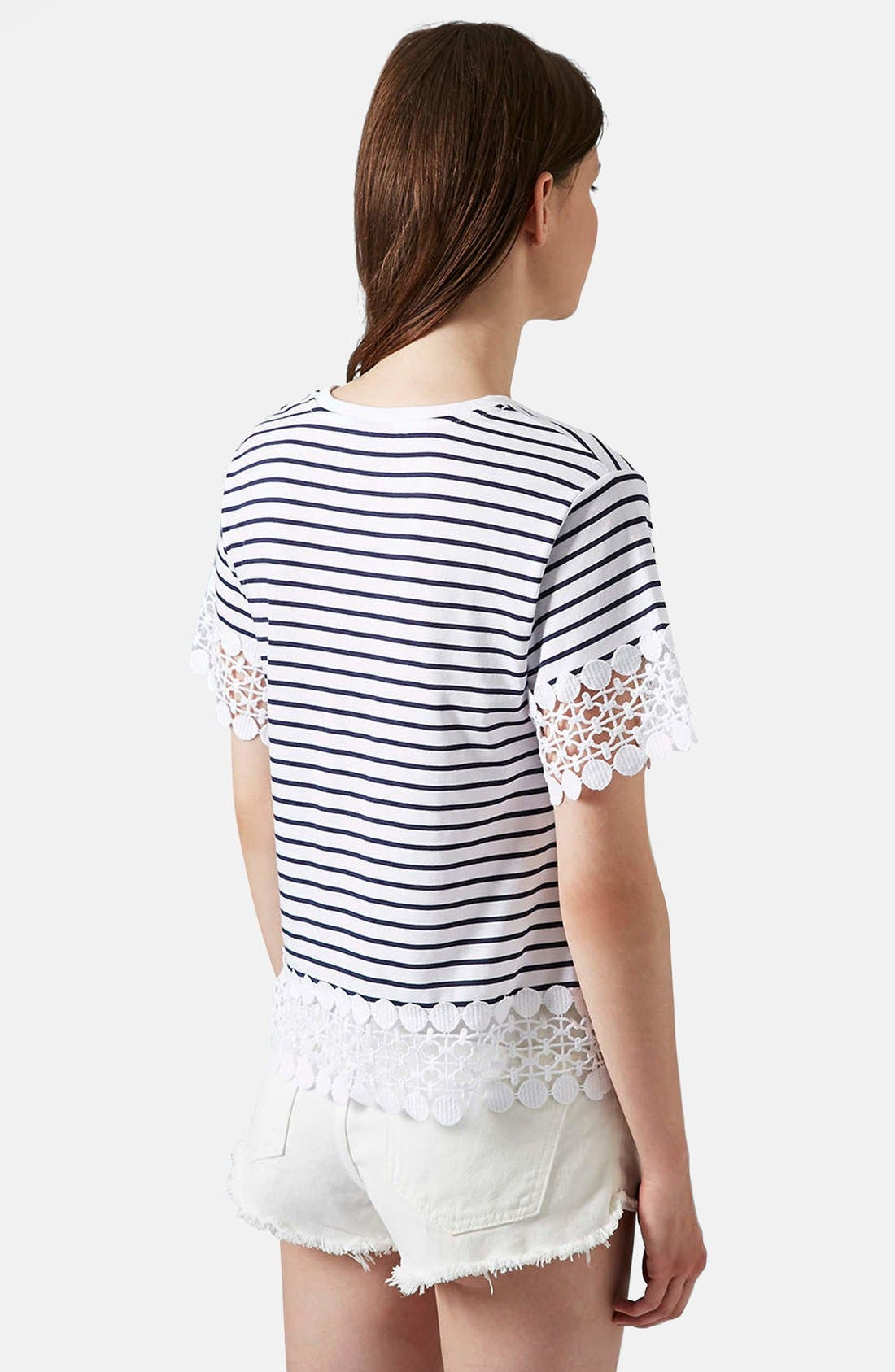 Alternate Image 2  - Topshop Lace Panel Tee