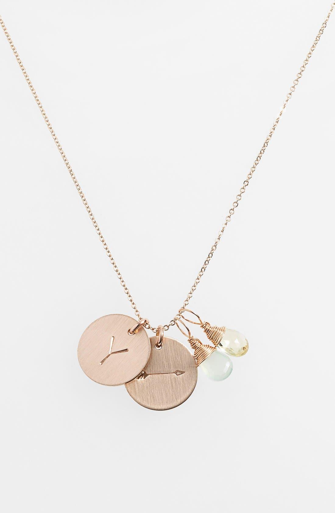 Aqua Chalcedony, Lemon Quartz, Initial & Arrow 14k-Gold Fill Disc Necklace,                         Main,                         color, Aqua And Lemon Y