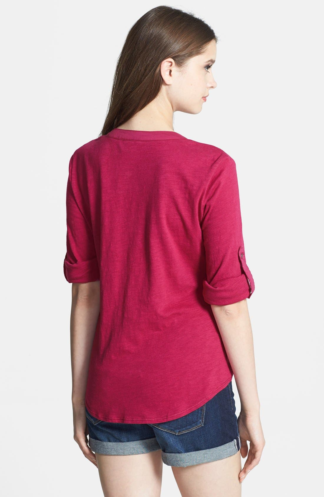 Alternate Image 2  - Sandra Ingrish Roll Sleeve Slub Knit Top (Petite)