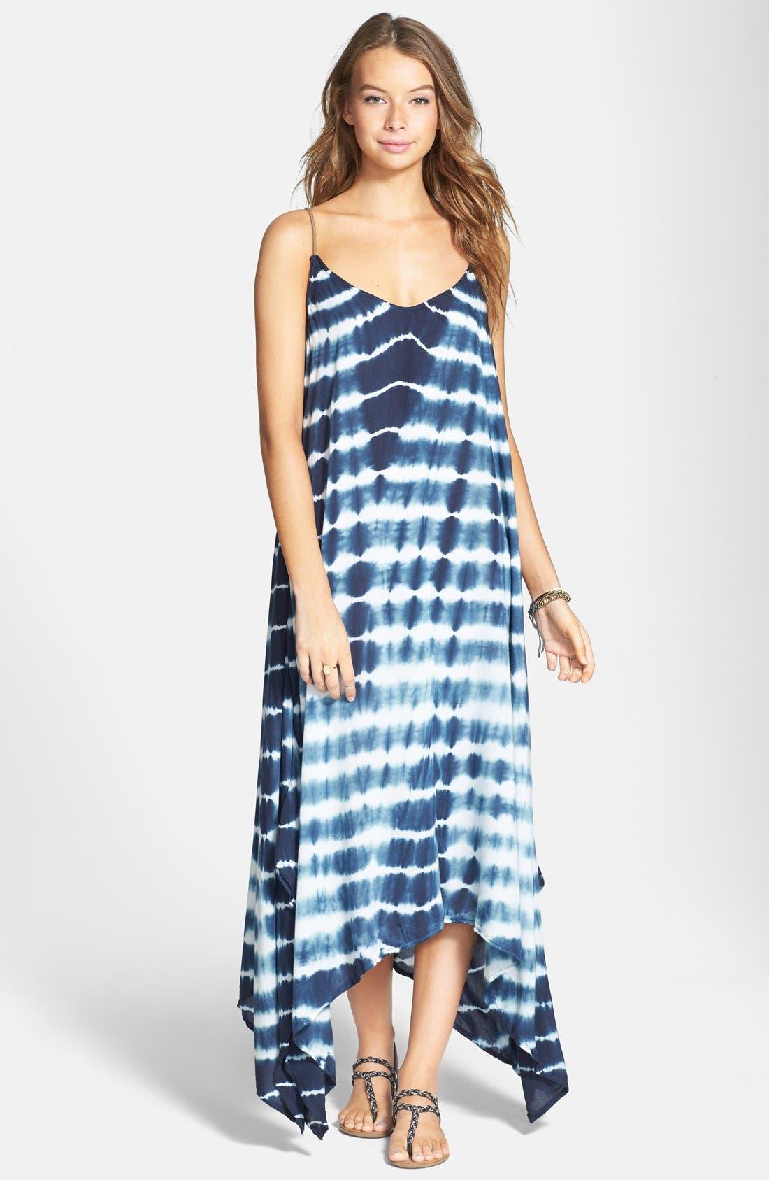 Main Image - Billabong 'Mystic Pearl' Tie Dye Handkerchief Maxi Dress (Juniors)