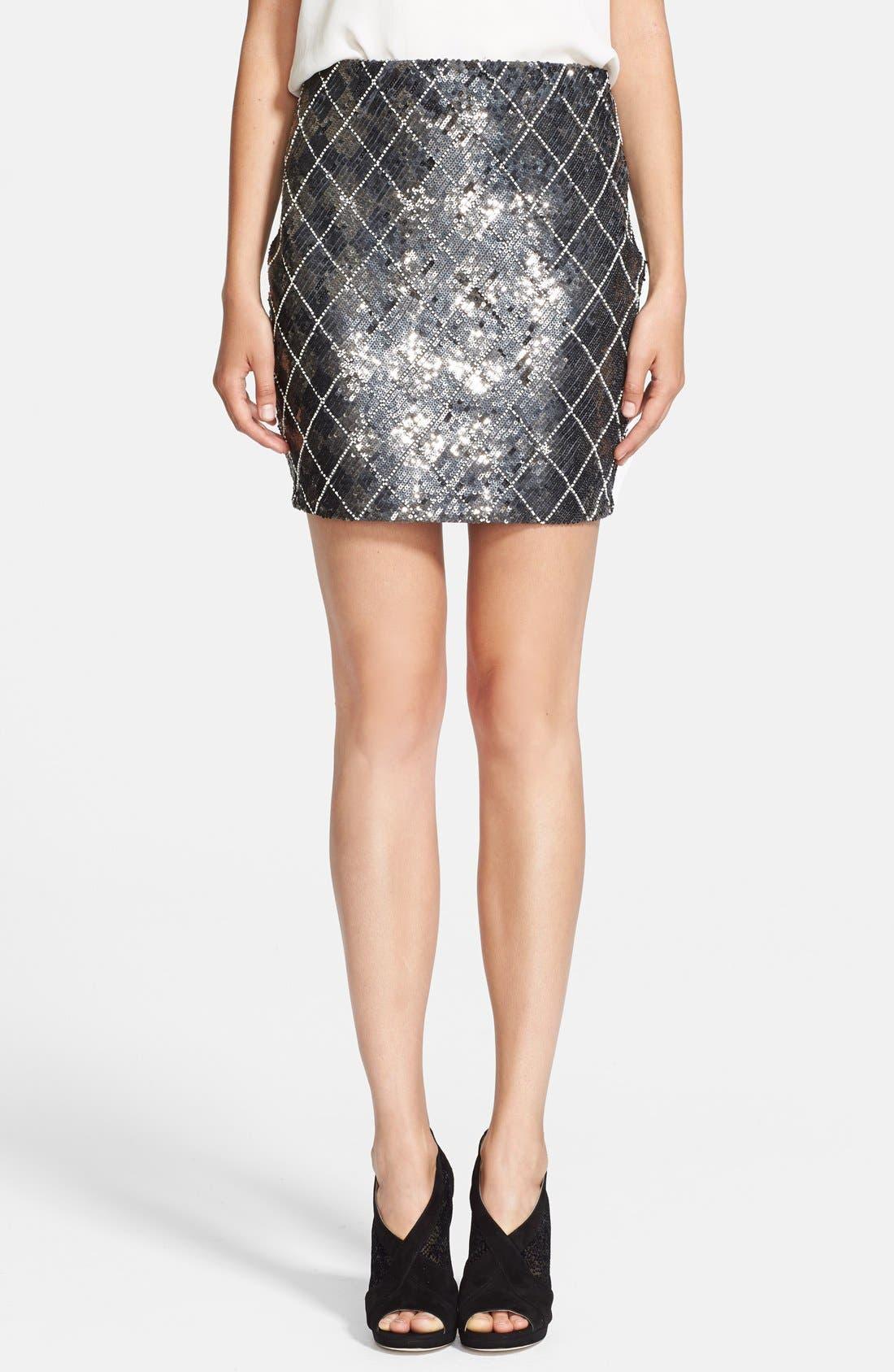 Main Image - Haute Hippie Sequin Argyle Skirt