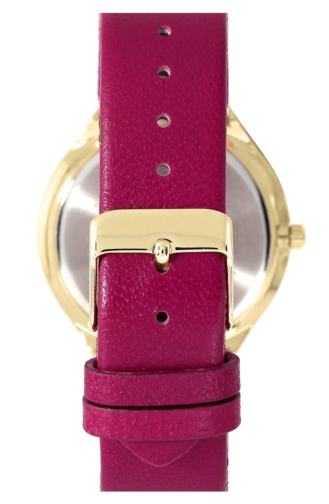 Alternate Image 2  - Anne Klein Round Leather Strap Watch, 38mm