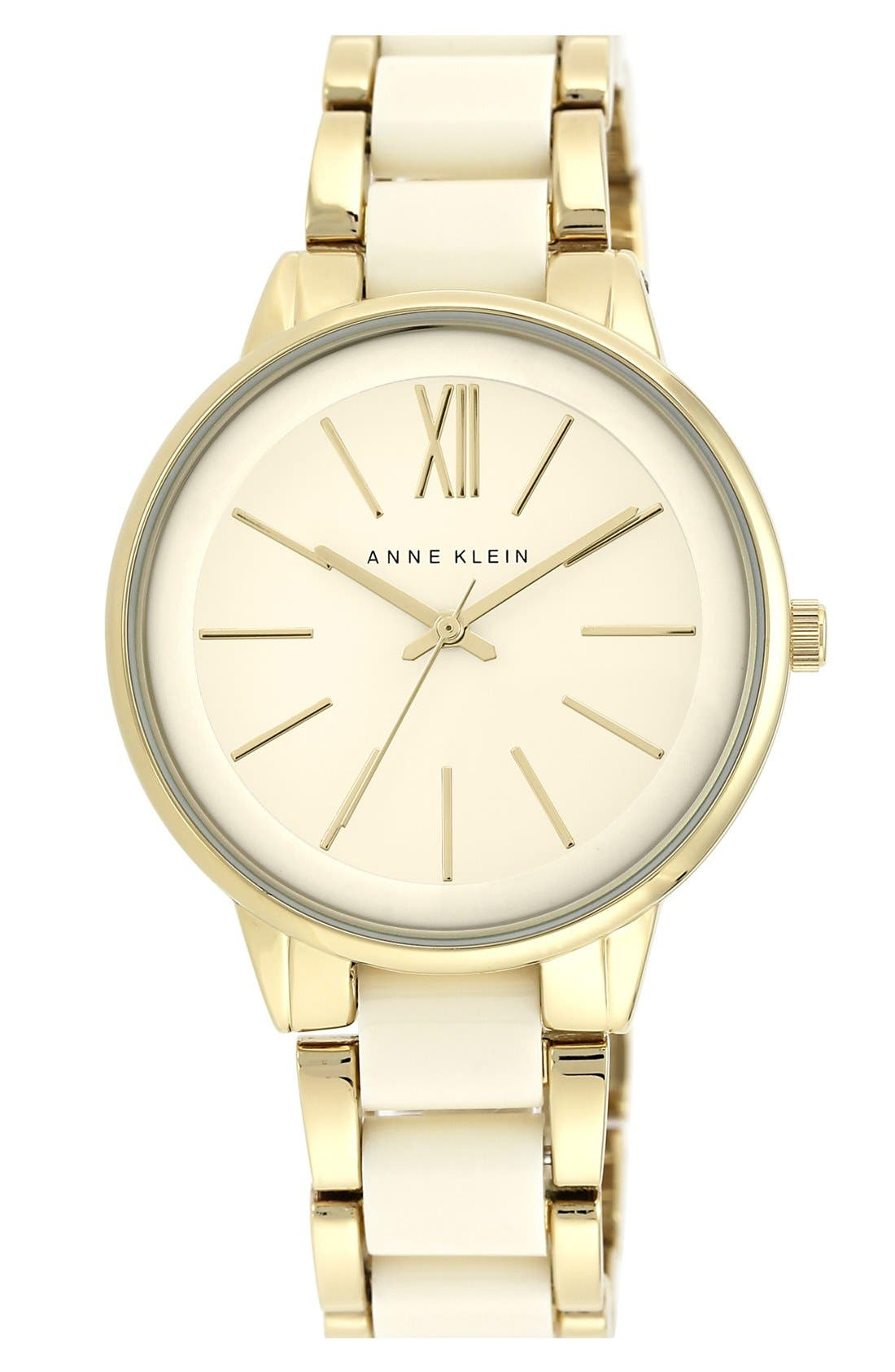 ANNE KLEIN Round Bracelet Watch, 43Mm in Ivory/ Gold