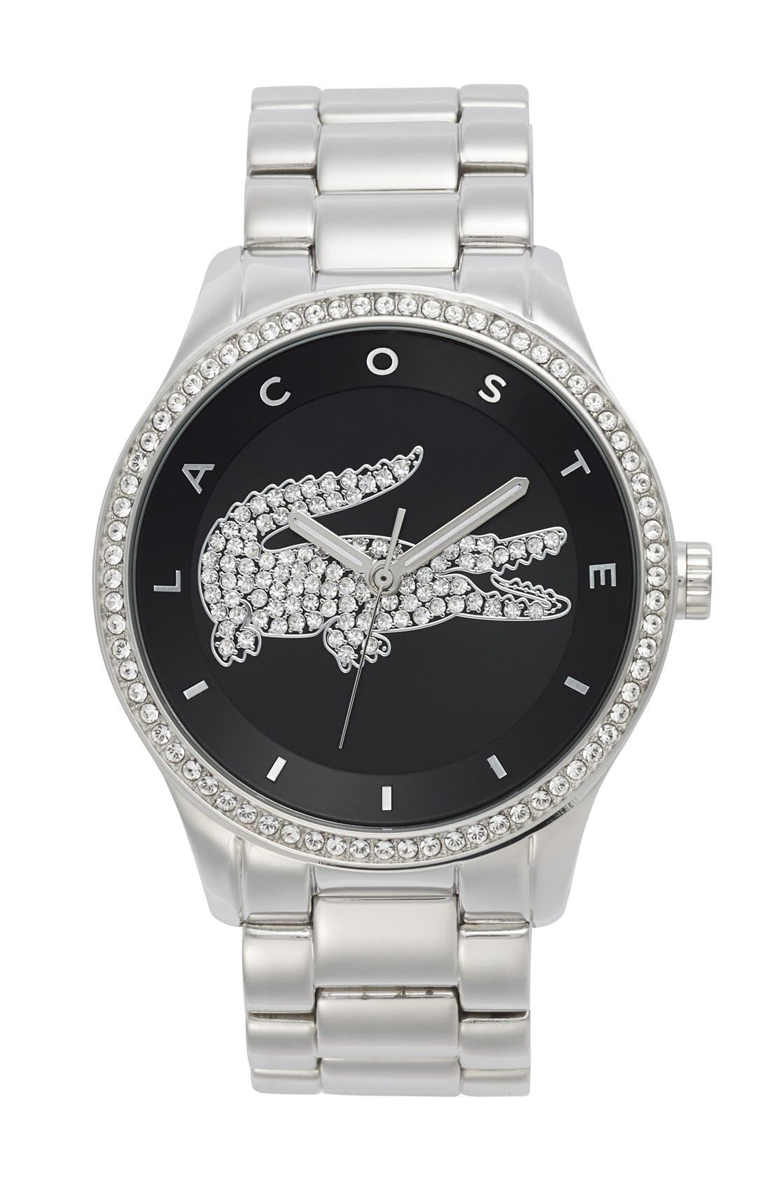 Alternate Image 1 Selected - Lacoste 'Victoria' Crystal Bezel Logo Bracelet Watch, 40mm