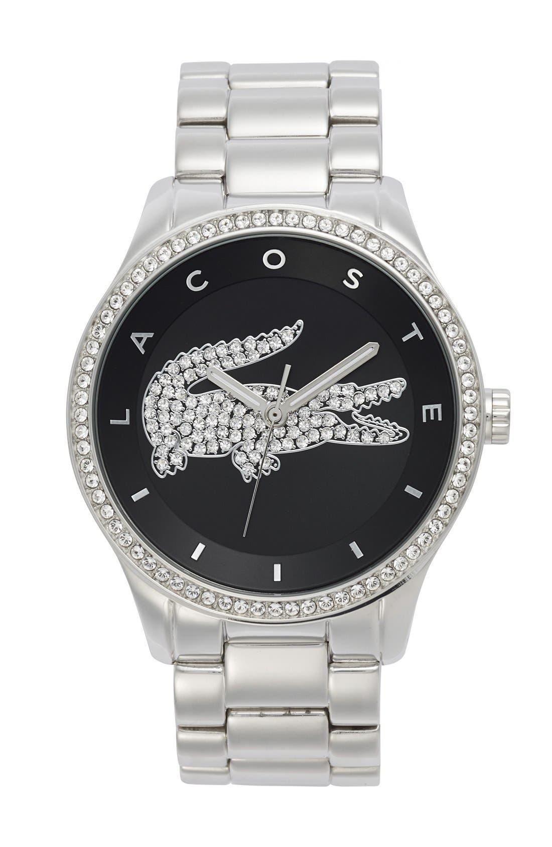 Main Image - Lacoste 'Victoria' Crystal Bezel Logo Bracelet Watch, 40mm