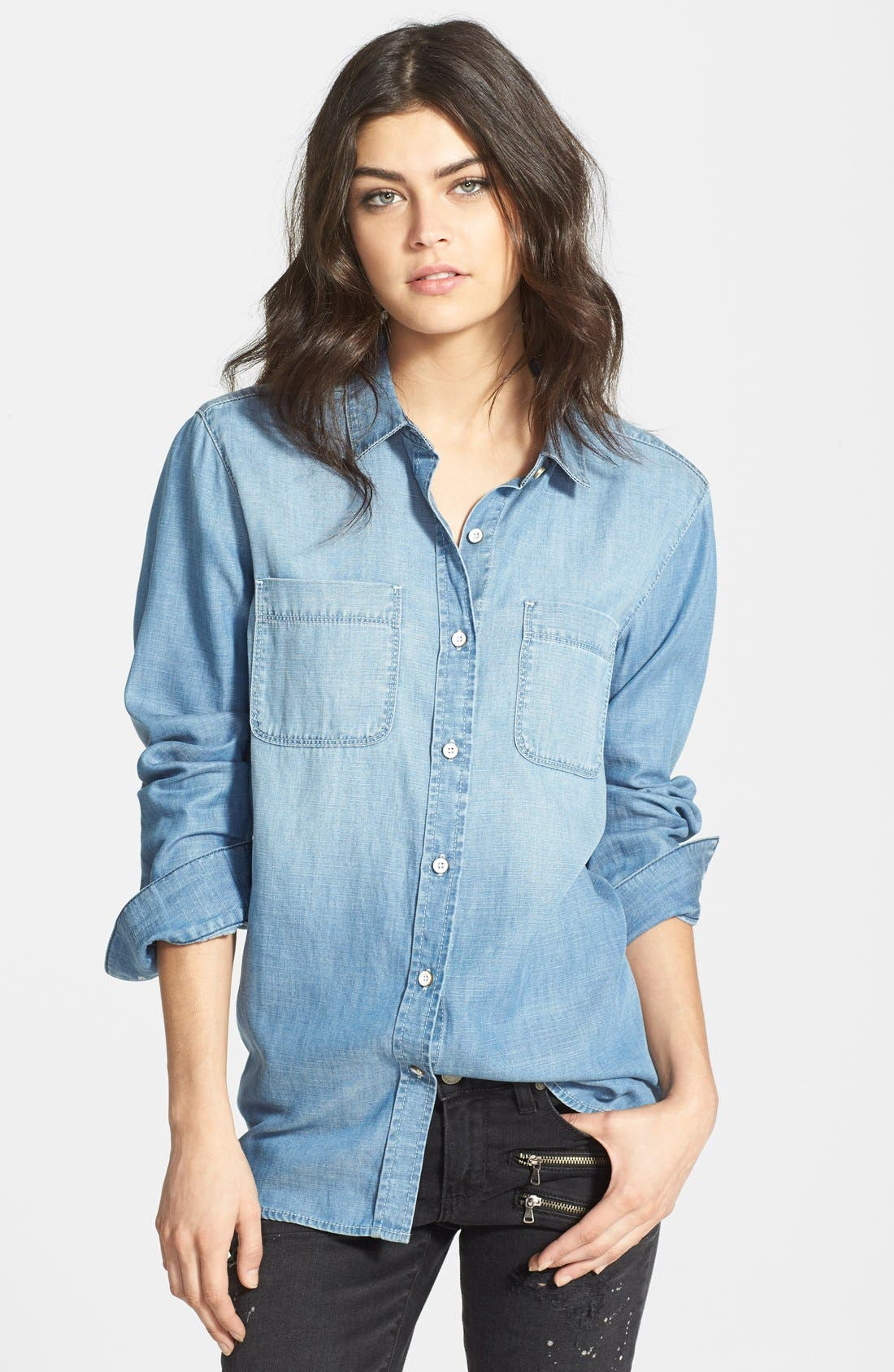 Alternate Image 1 Selected - Treasure&Bond Boyfriend Fit Denim Shirt