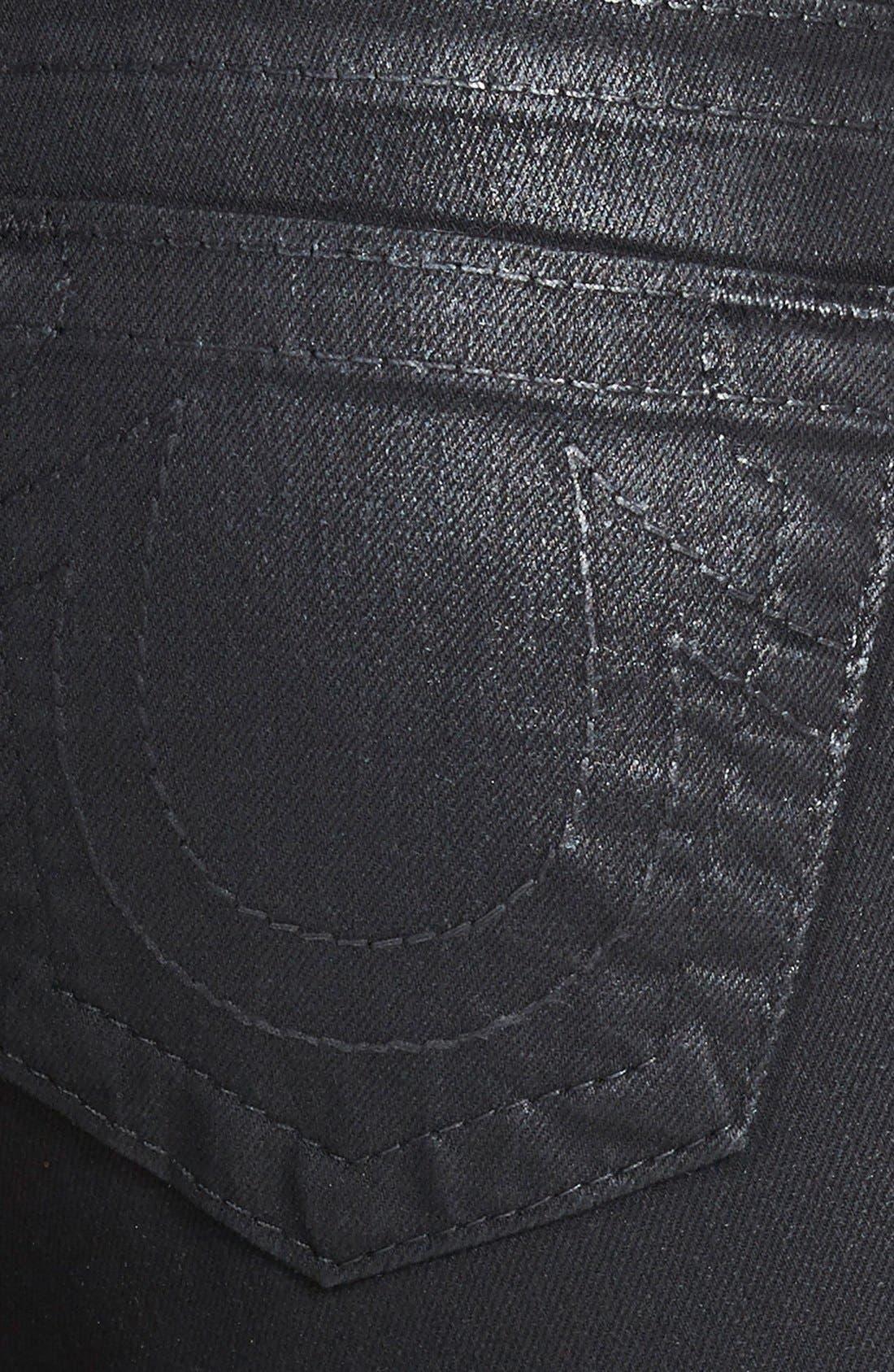 Alternate Image 3  - True Religion Brand Jeans 'Halle - Super Vixen' Coated Skinny Jeans (Black)