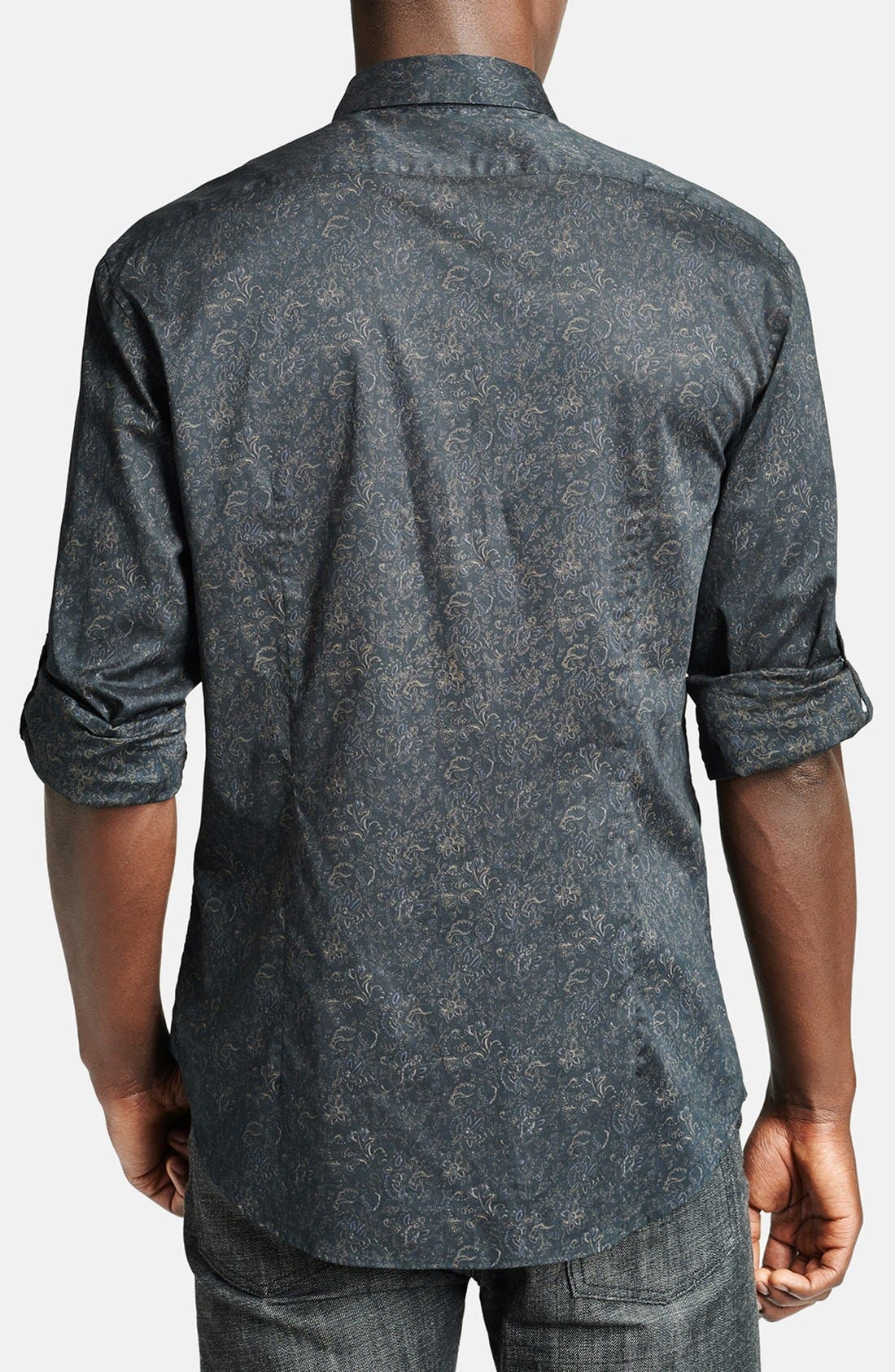 Alternate Image 2  - John Varvatos Collection Slim Fit Floral Print Cotton Shirt with Button Tab Sleeves