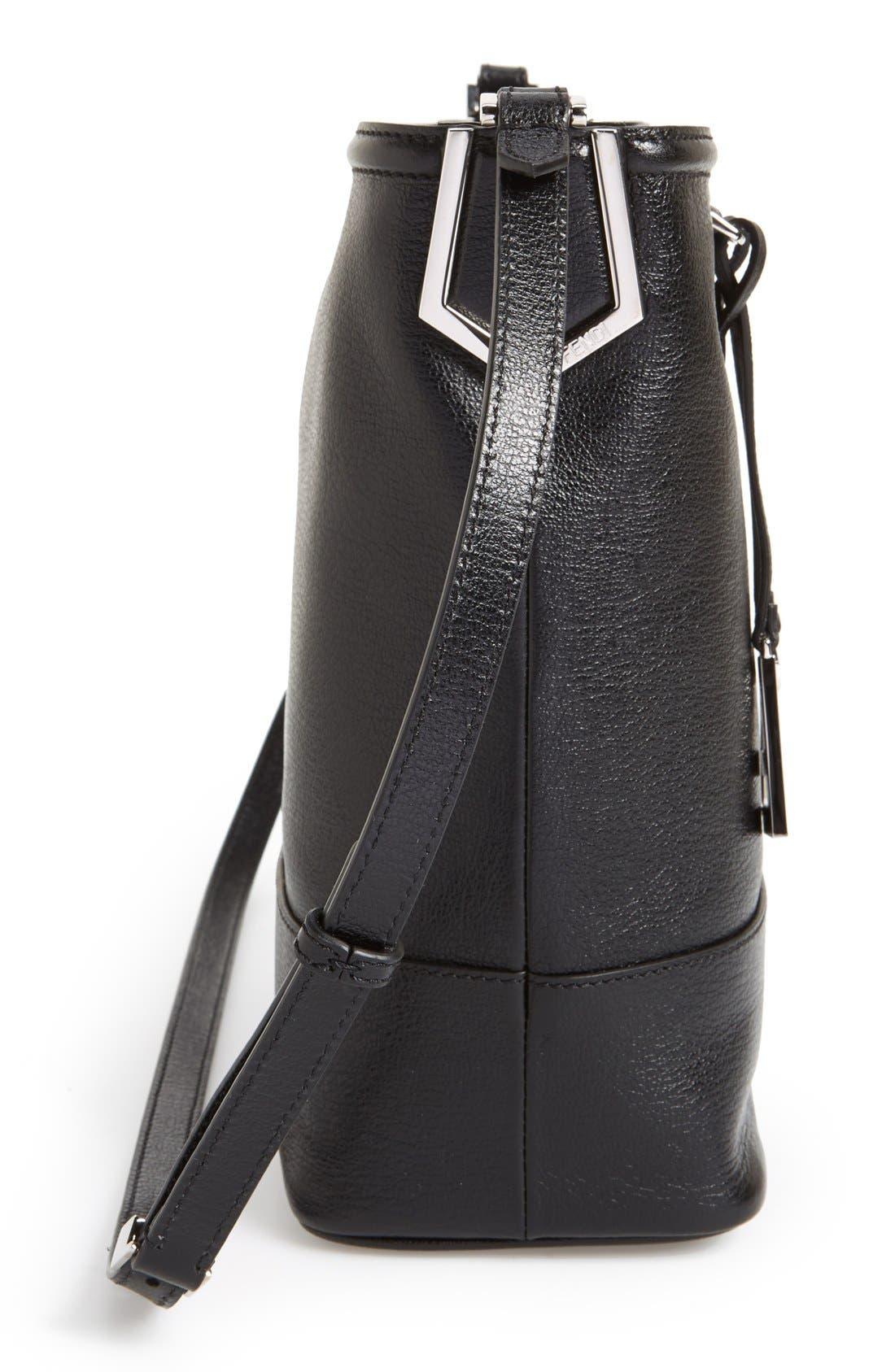 Leather Bucket Crossbody Bag,                             Alternate thumbnail 5, color,                             Black/ Palladium