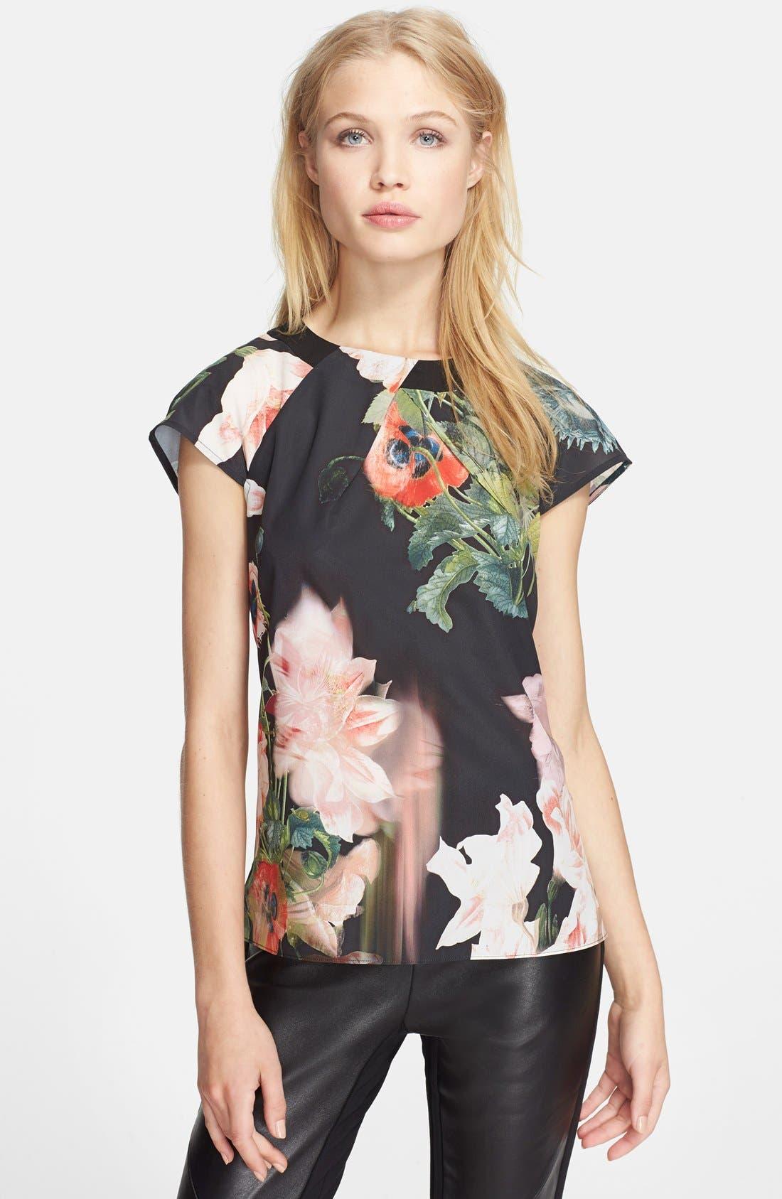 Alternate Image 1 Selected - Ted Baker London 'Opulent Bloom' Print Top