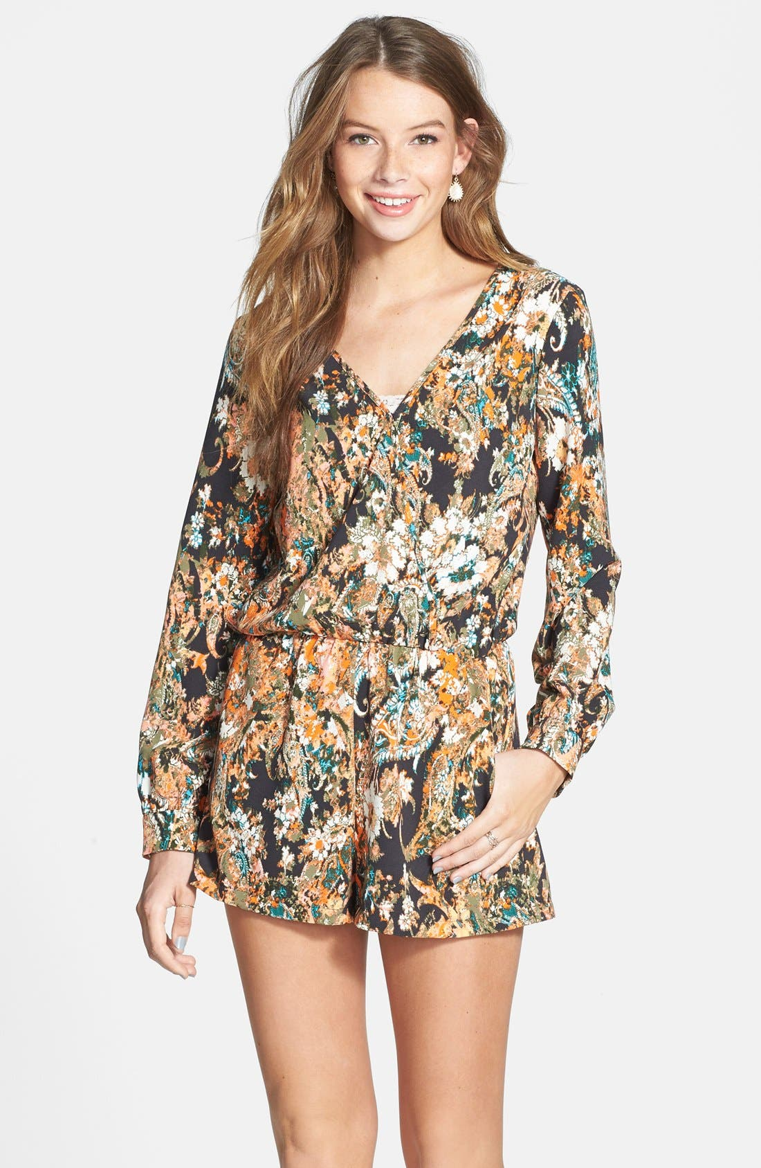 Main Image - Socialite Long Sleeve Romper (Juniors)