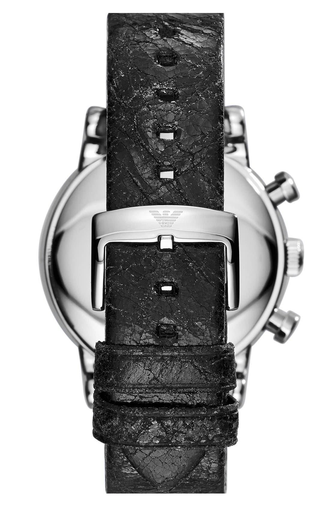 Alternate Image 2  - Emporio Armani Chronograph Leather Strap Watch, 41mm