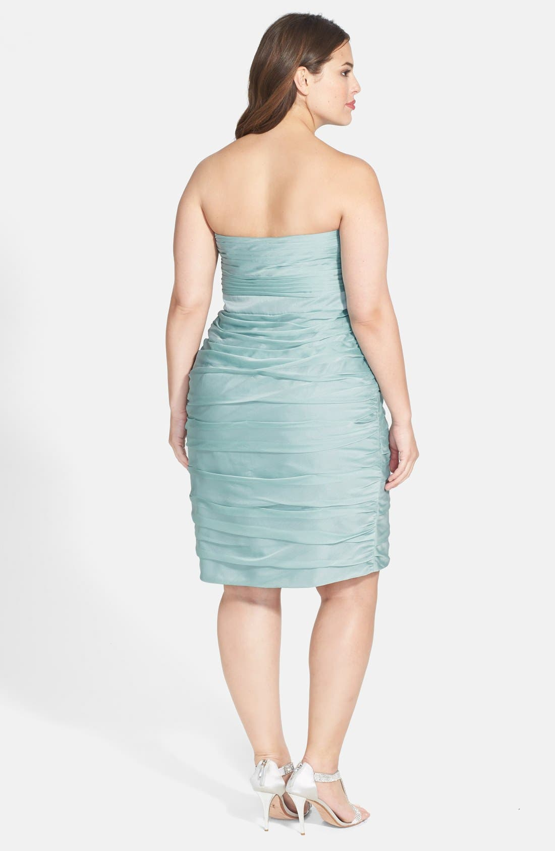Alternate Image 2  - ML Monique Lhuillier Bridesmaids Ruched Strapless Cationic Chiffon Dress (Nordstrom Exclusive) (Plus Size)