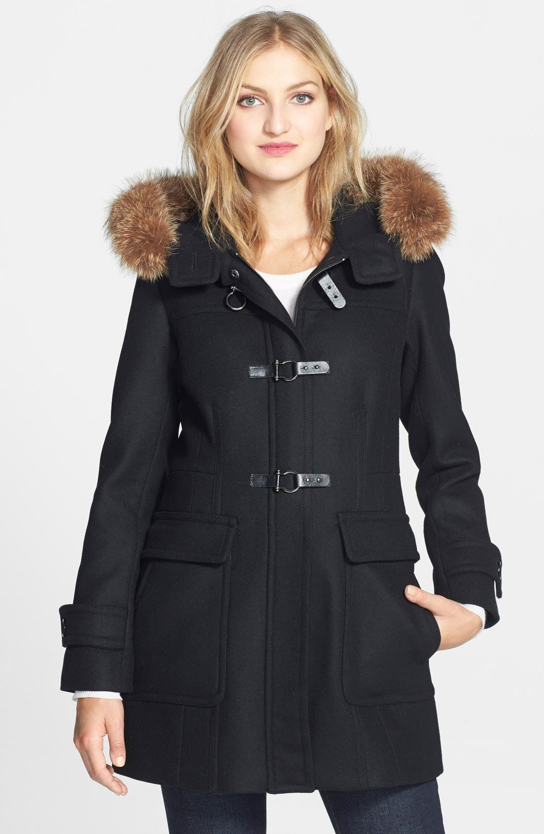 Main Image - Trina Turk Genuine Coyote Fur Trim Wool Blend Duffle Coat