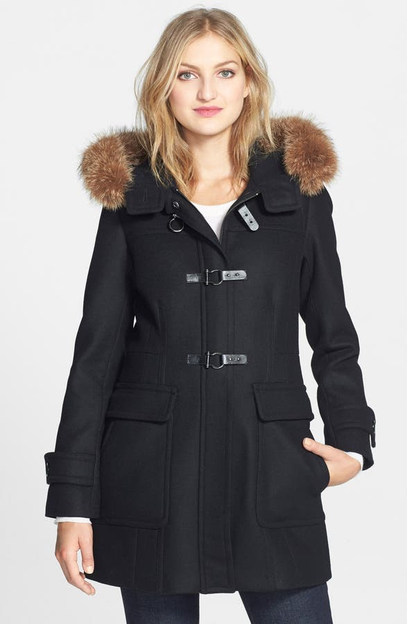 Trina Turk Genuine Coyote Fur Trim Wool Blend Duffle Coat | Nordstrom
