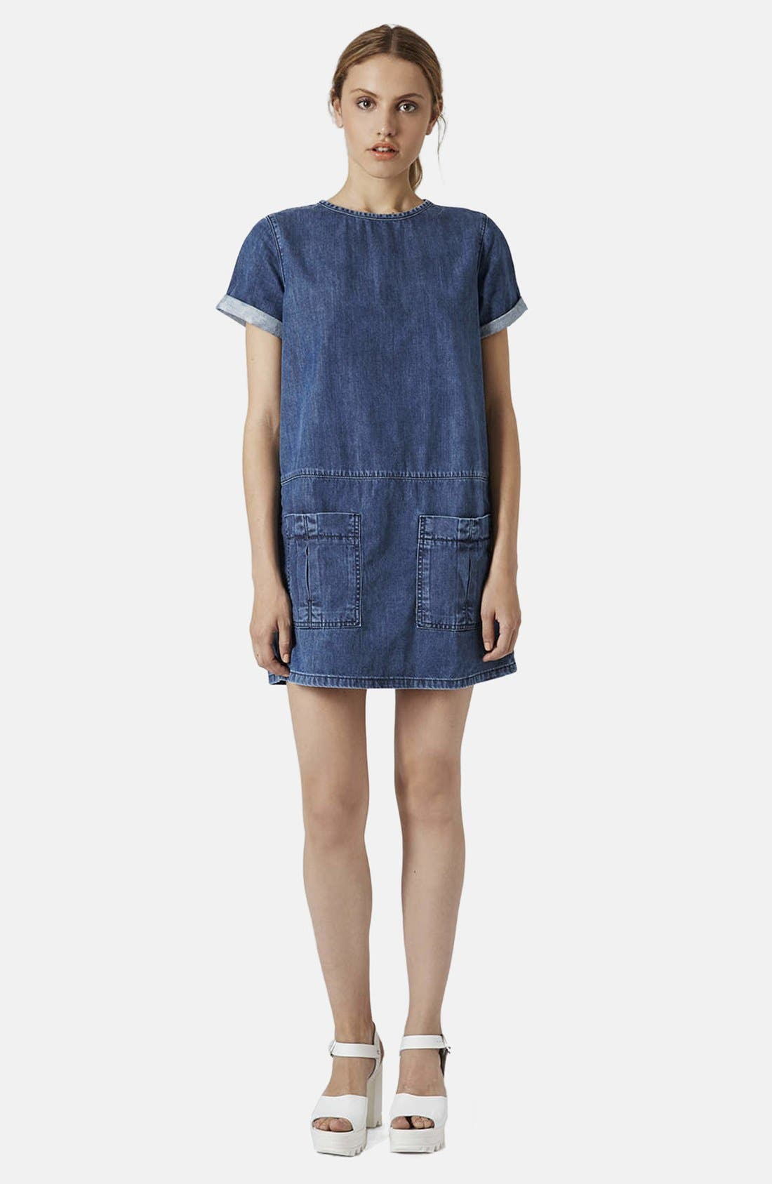 Alternate Image 5  - Topshop Moto Denim T-Shirt Dress