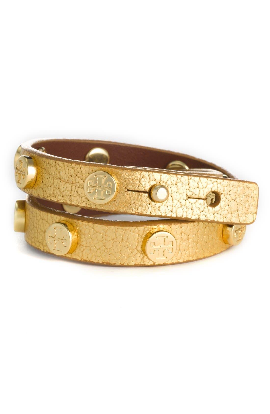 Double Wrap Logo Bracelet,                         Main,                         color, Gold