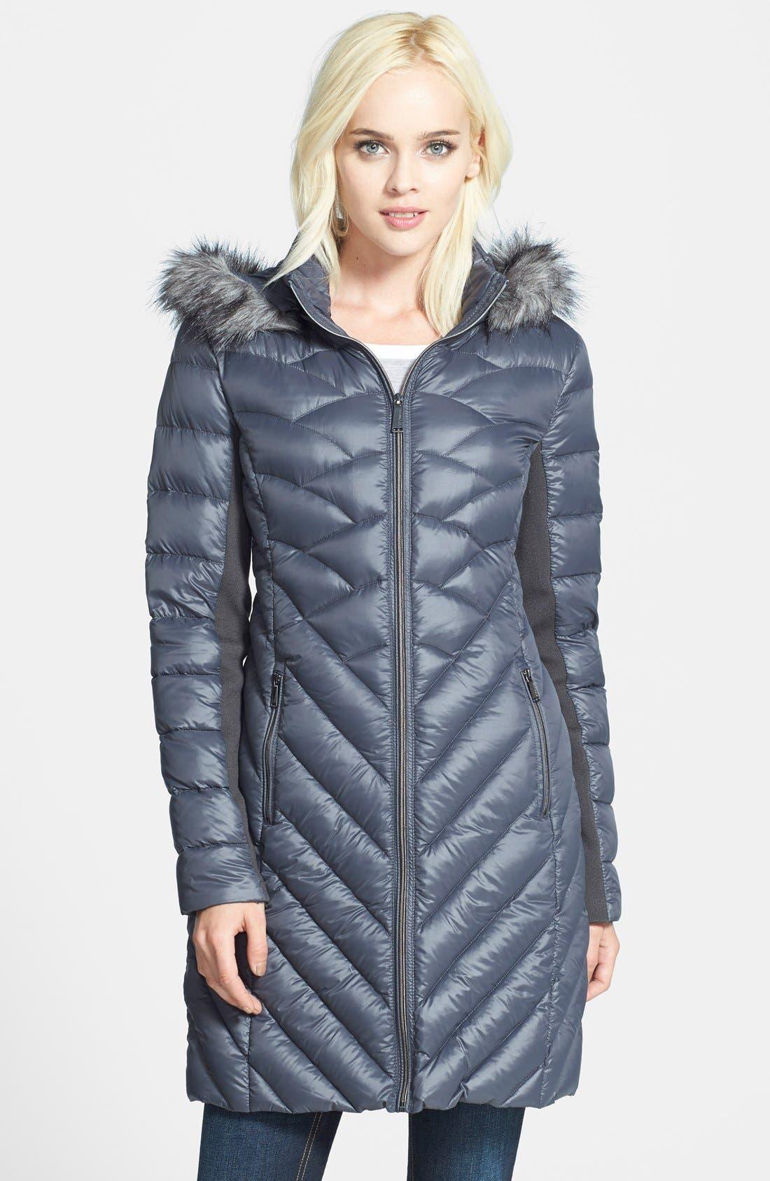 Main Image - BCBGeneration Packable Down Coat with Faux Fur Trim