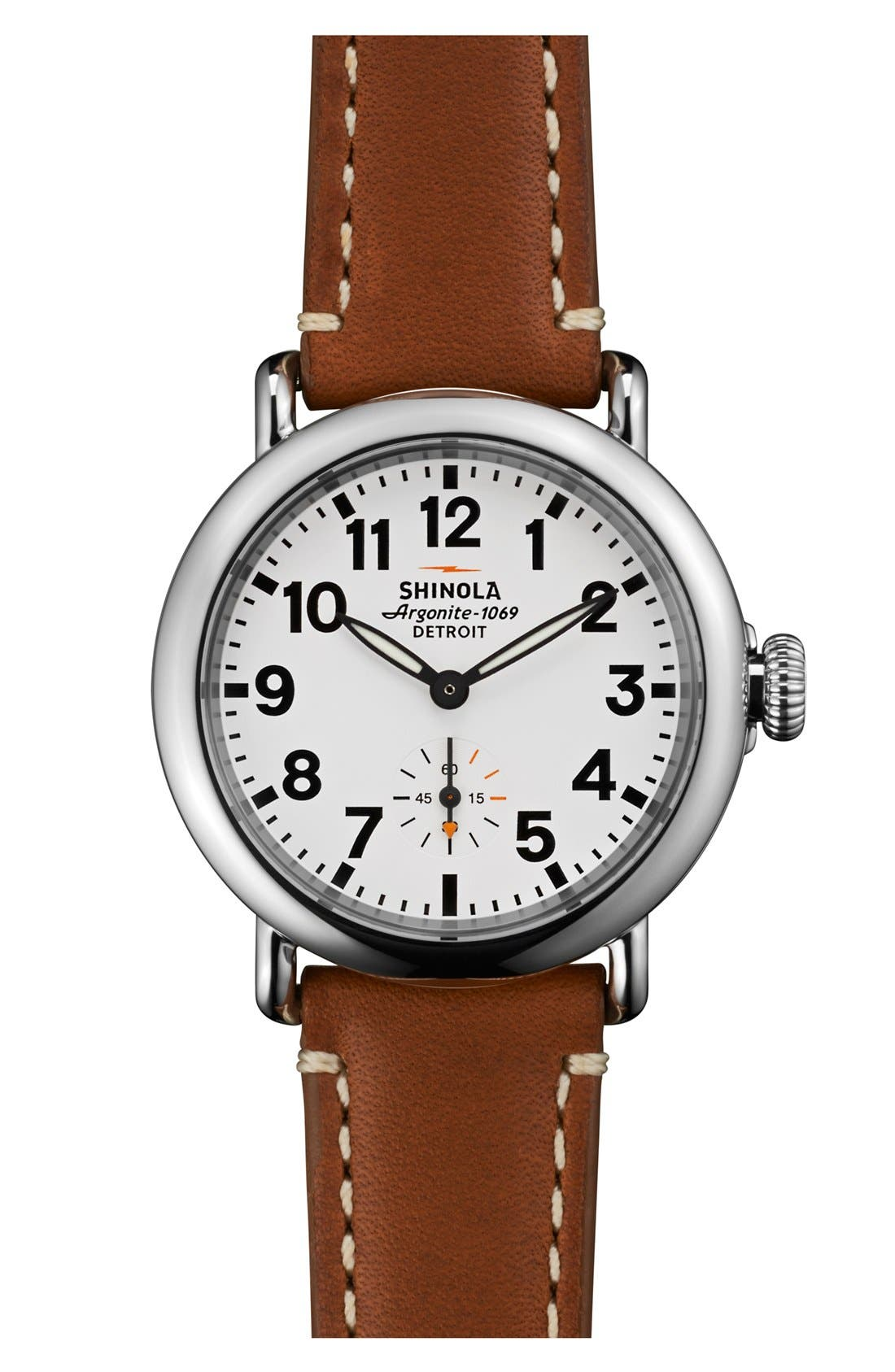 The Runwell Leather Strap Watch, 36mm,                         Main,                         color, Brown/ White