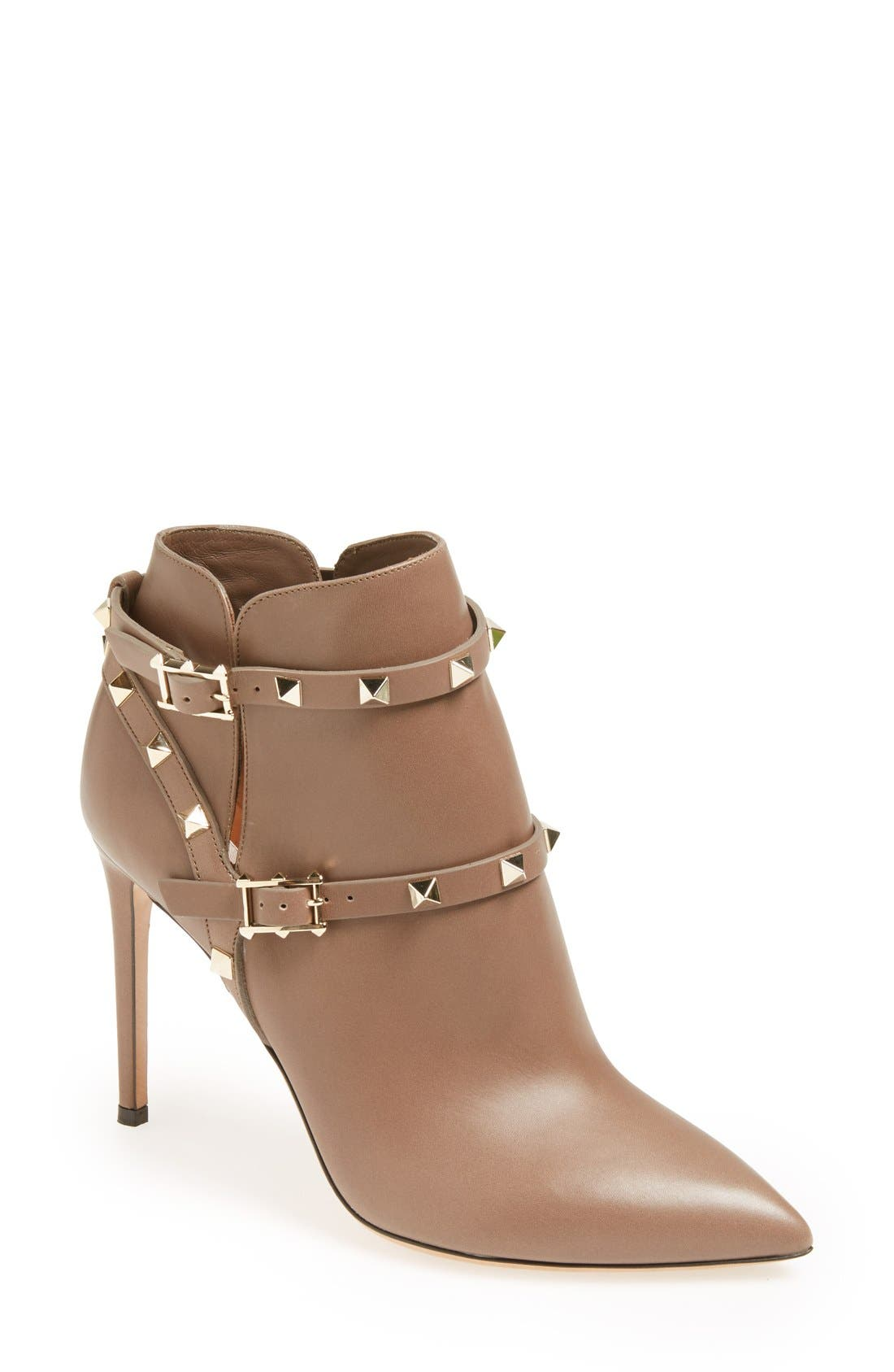 Main Image - VALENTINO GARAVANI 'Rockstud' Pointy Toe Calfskin Leather Bootie (Women)