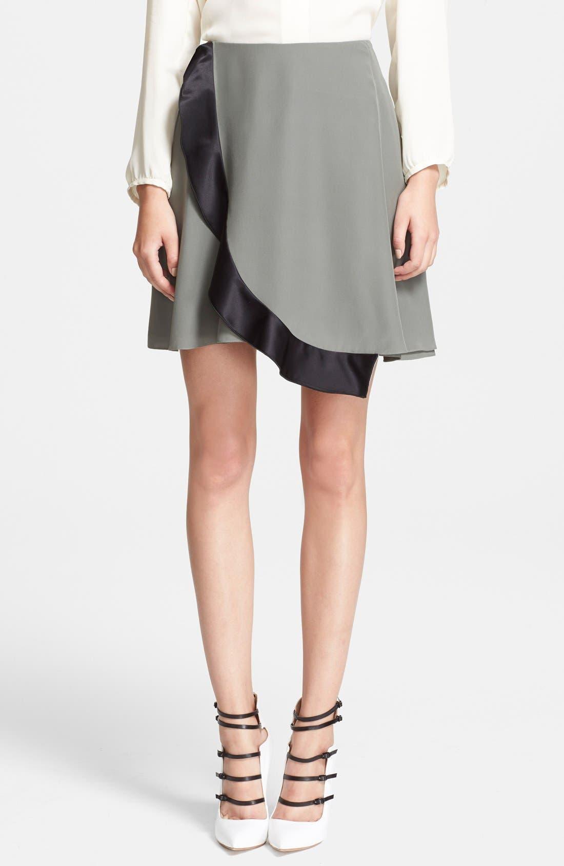 Silk Wrap Circle Skirt,                         Main,                         color, Sage