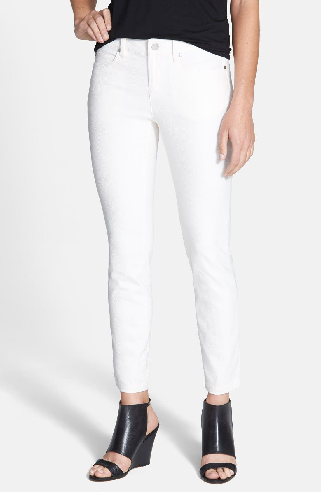 Alternate Image 1 Selected - Eileen Fisher Ankle Skinny Jeans (Soft White) (Petite)