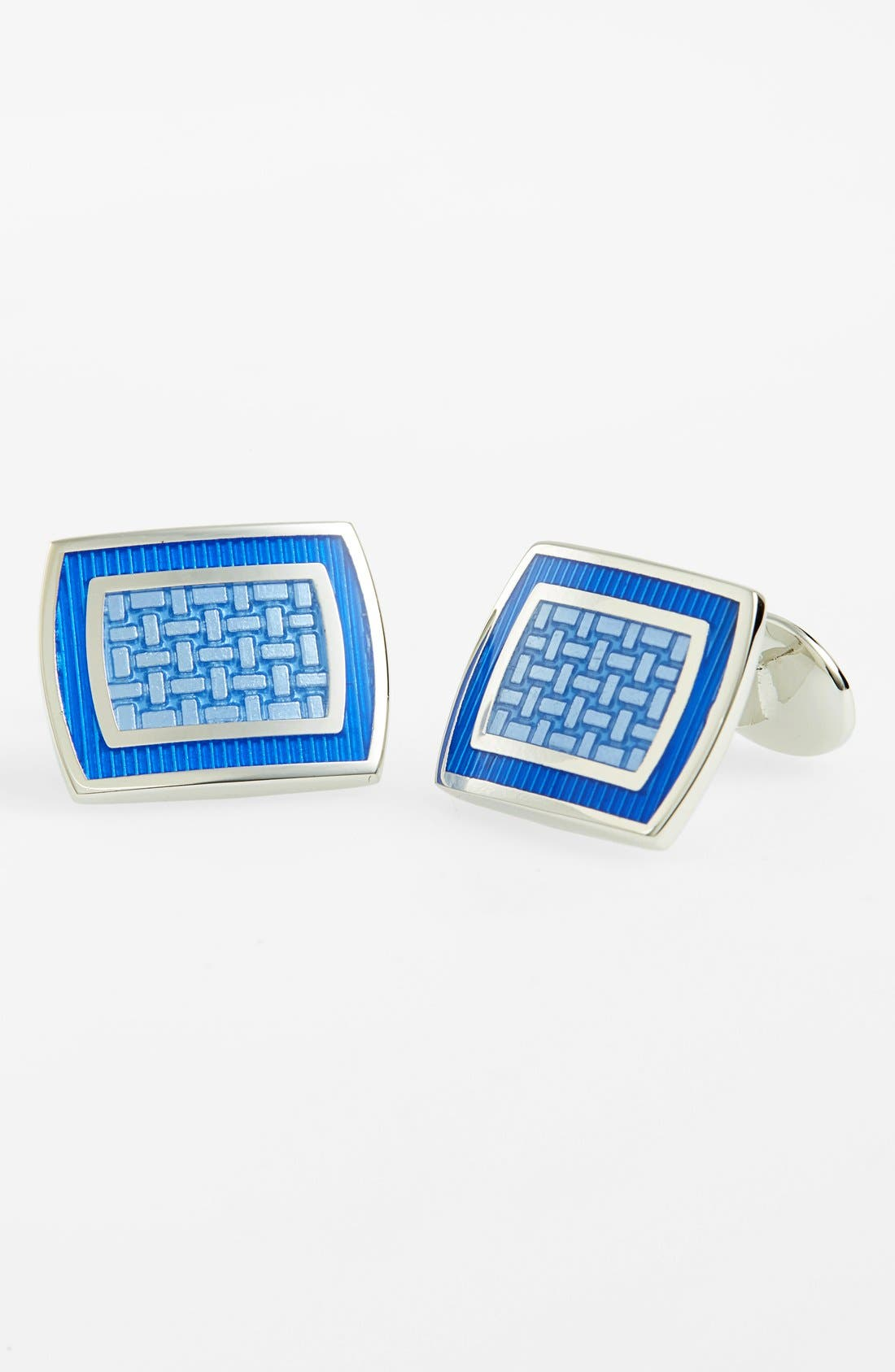 Sterling Silver Cuff Links,                             Main thumbnail 1, color,                             Sterling Silver/ Blue/ Blue