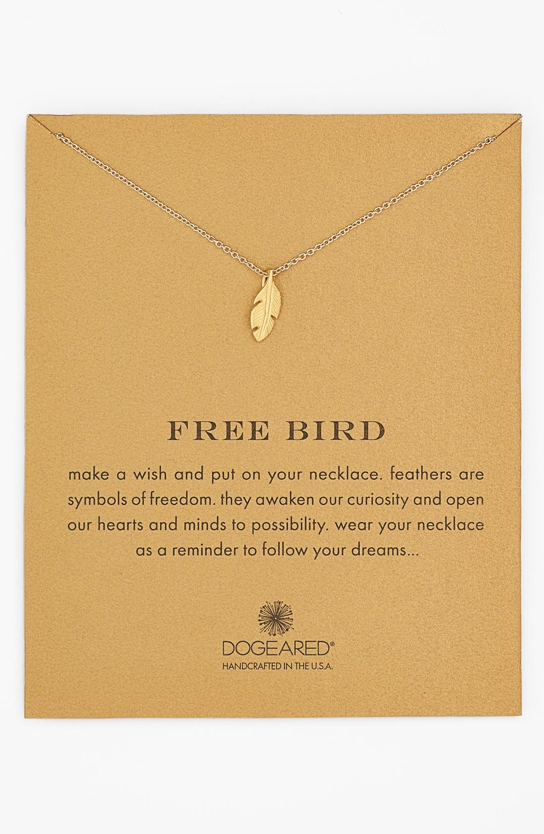 Main Image - Dogeared 'Reminder - Free Bird' Feather Necklace