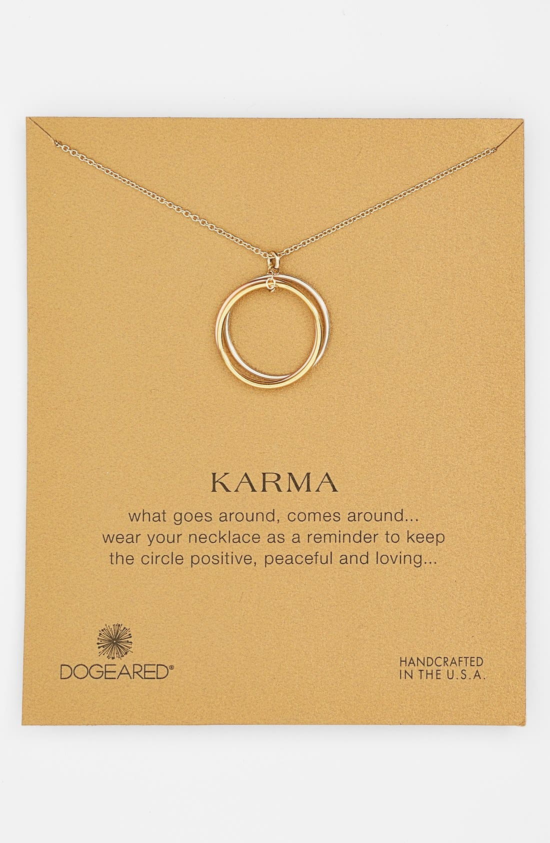 Alternate Image 1 Selected - Dogeared 'Karma' Boxed Mixed Metal Charm Necklace