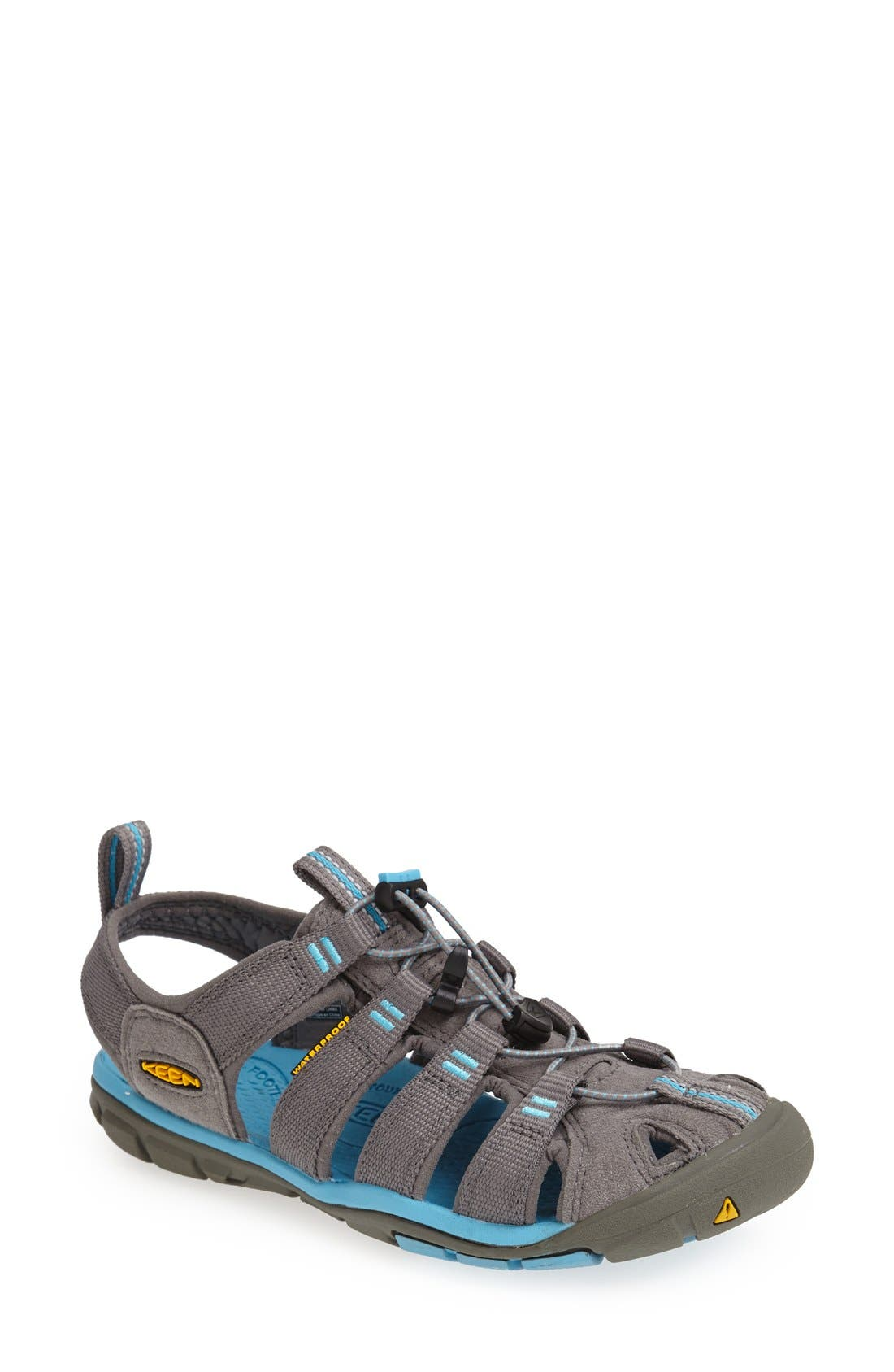 'Clearwater CNX' Sandal,                             Main thumbnail 1, color,                             Gargoyle/ Norse Blue
