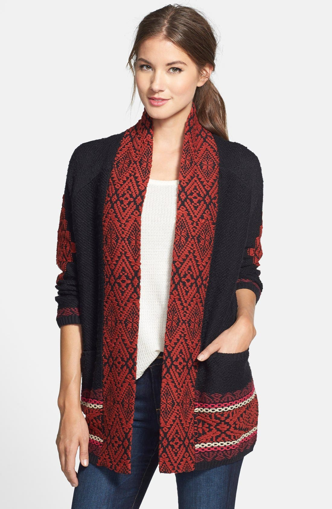 Alternate Image 1 Selected - Lucky Brand Jacquard Sweater Coat