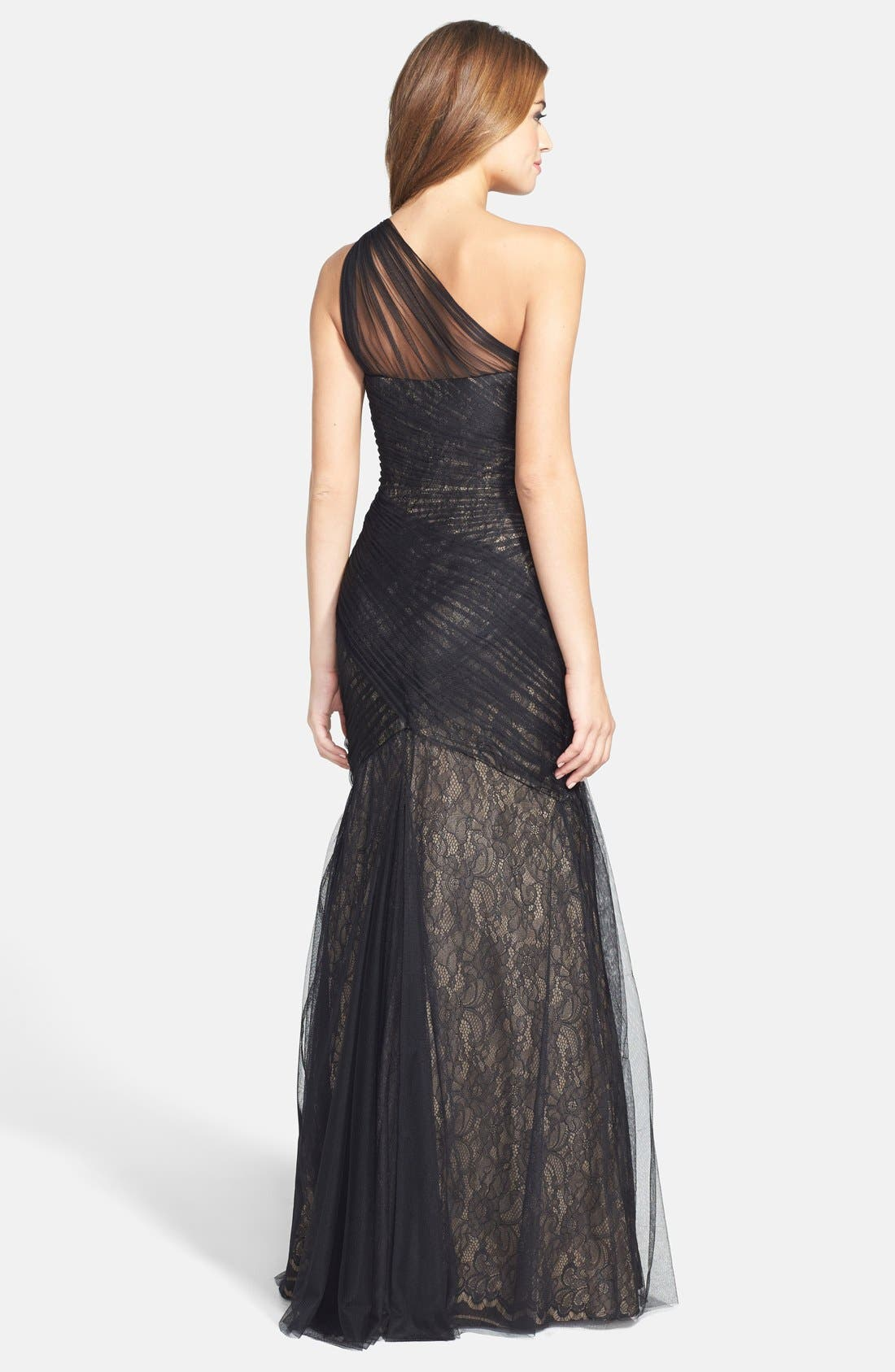 Alternate Image 2  - Monique Lhuillier One-Shoulder Tulle Trumpet Gown (Nordstrom Exclusive)