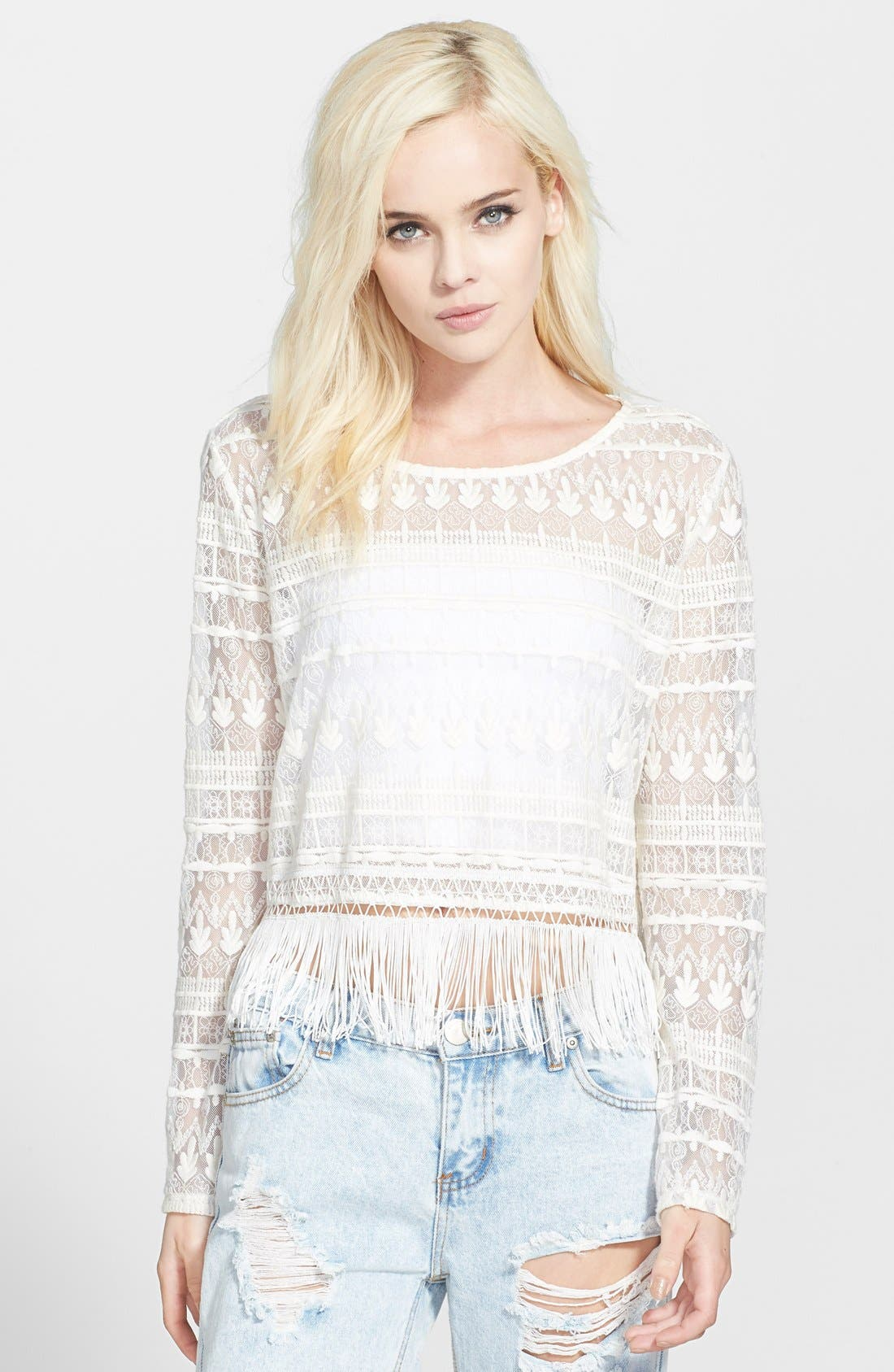 Main Image - ASTR Long Sleeve Lace Top
