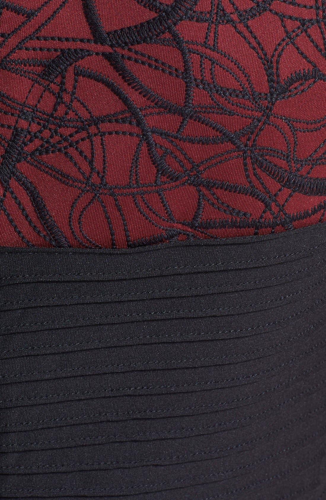 Alternate Image 4  - Tadashi Shoji Pintuck Embroidered Neoprene Fit & Flare Dress