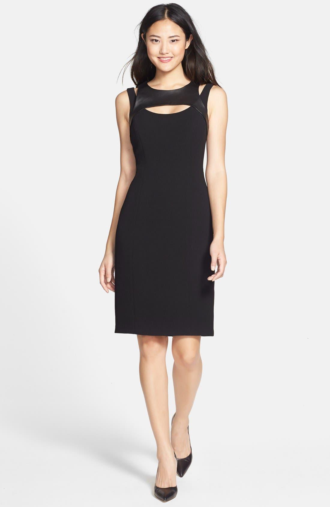 Alternate Image 4  - Adrianna Papell Faux Leather Trim Cutout Sheath Dress