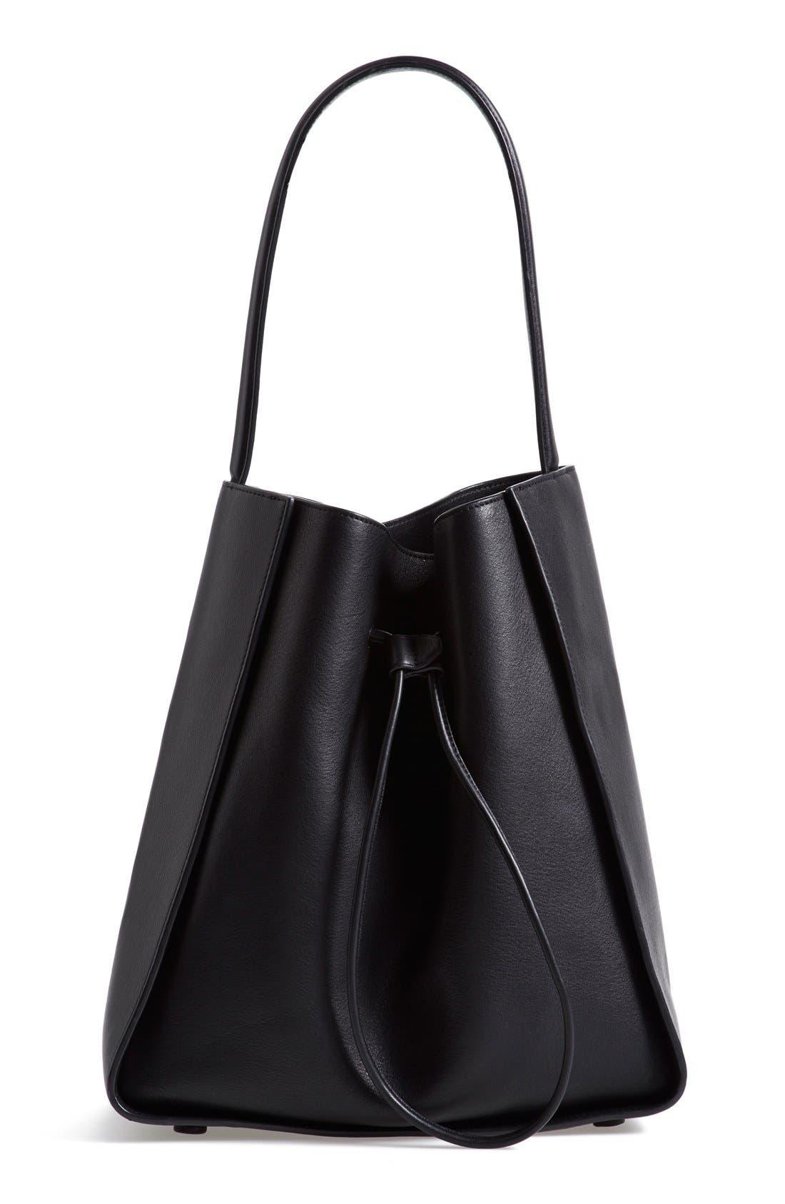 'Large Soleil' Leather Bucket Bag,                         Main,                         color, Black/ Black