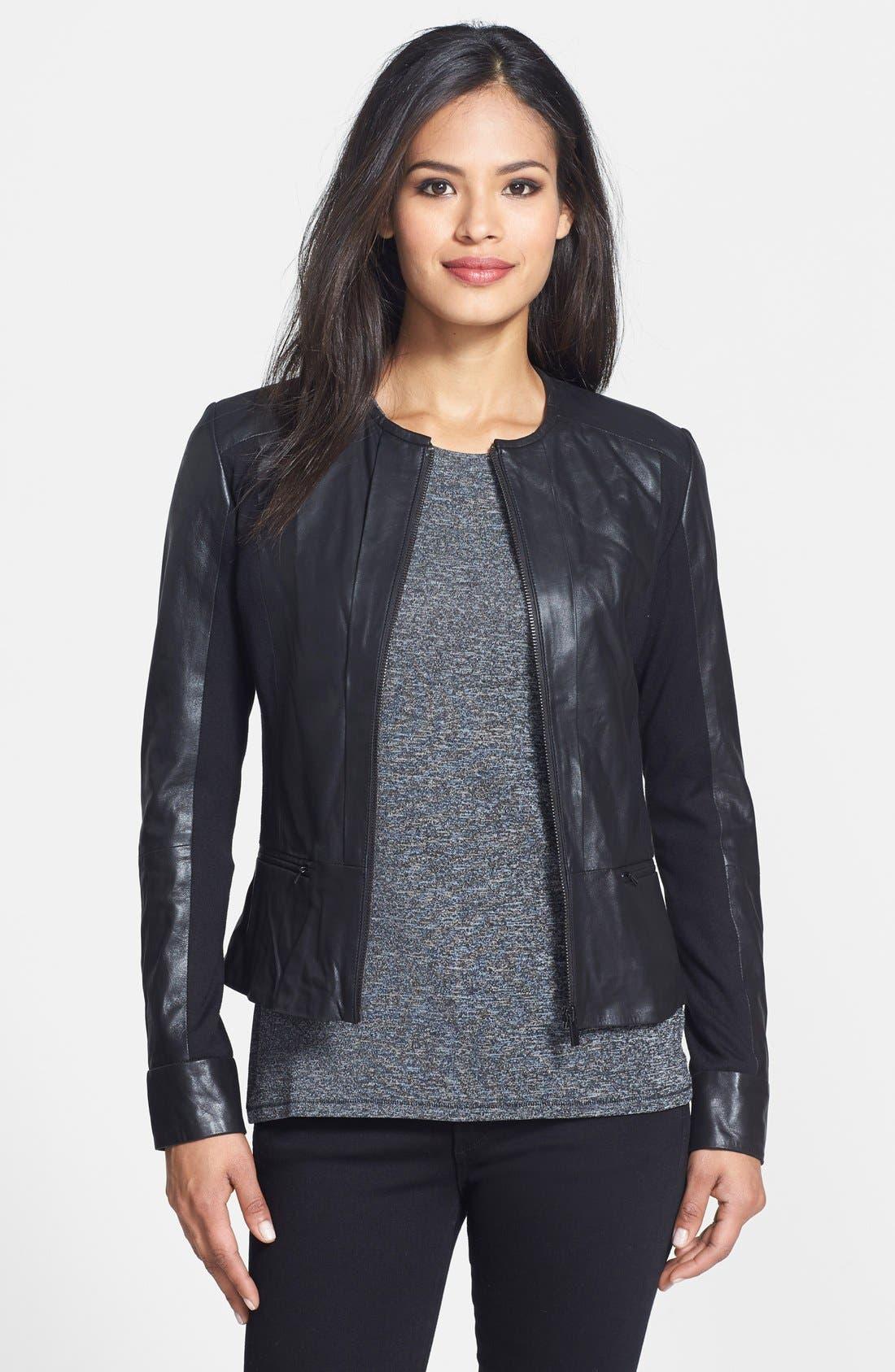 Alternate Image 1 Selected - LaMarque Leather & Knit Moto Jacket