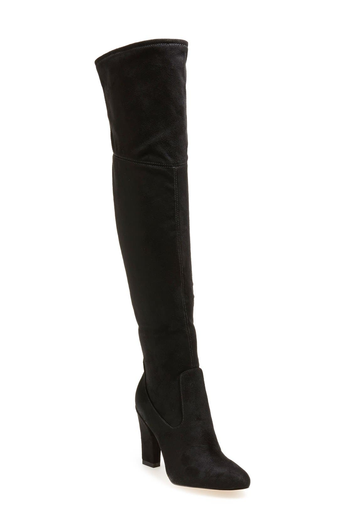 'Sarena' Over the Knee Stretch Boot,                             Main thumbnail 1, color,                             Black