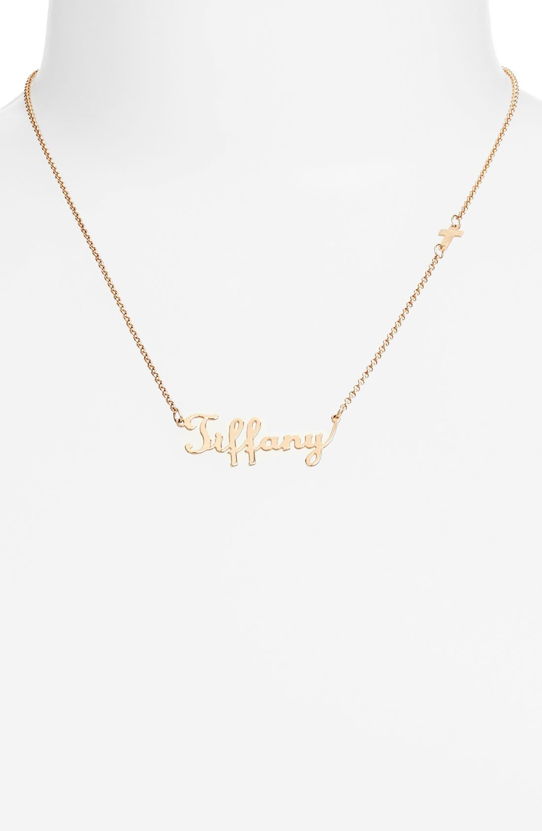Personalized Script Name with Cross Necklace,                             Alternate thumbnail 2, color,                             Rose Gold